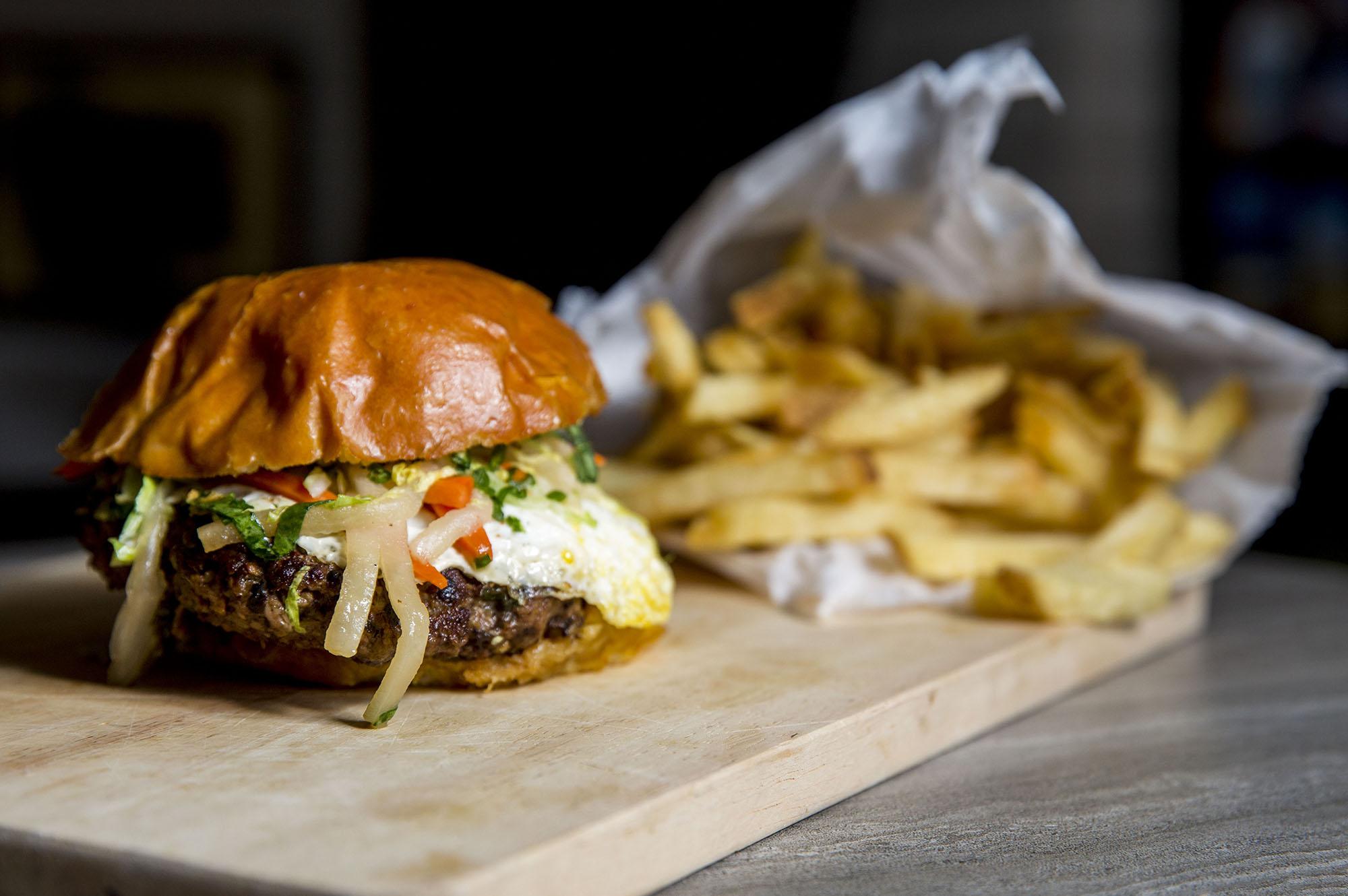 A burger and fries at Feed Co. Burgers