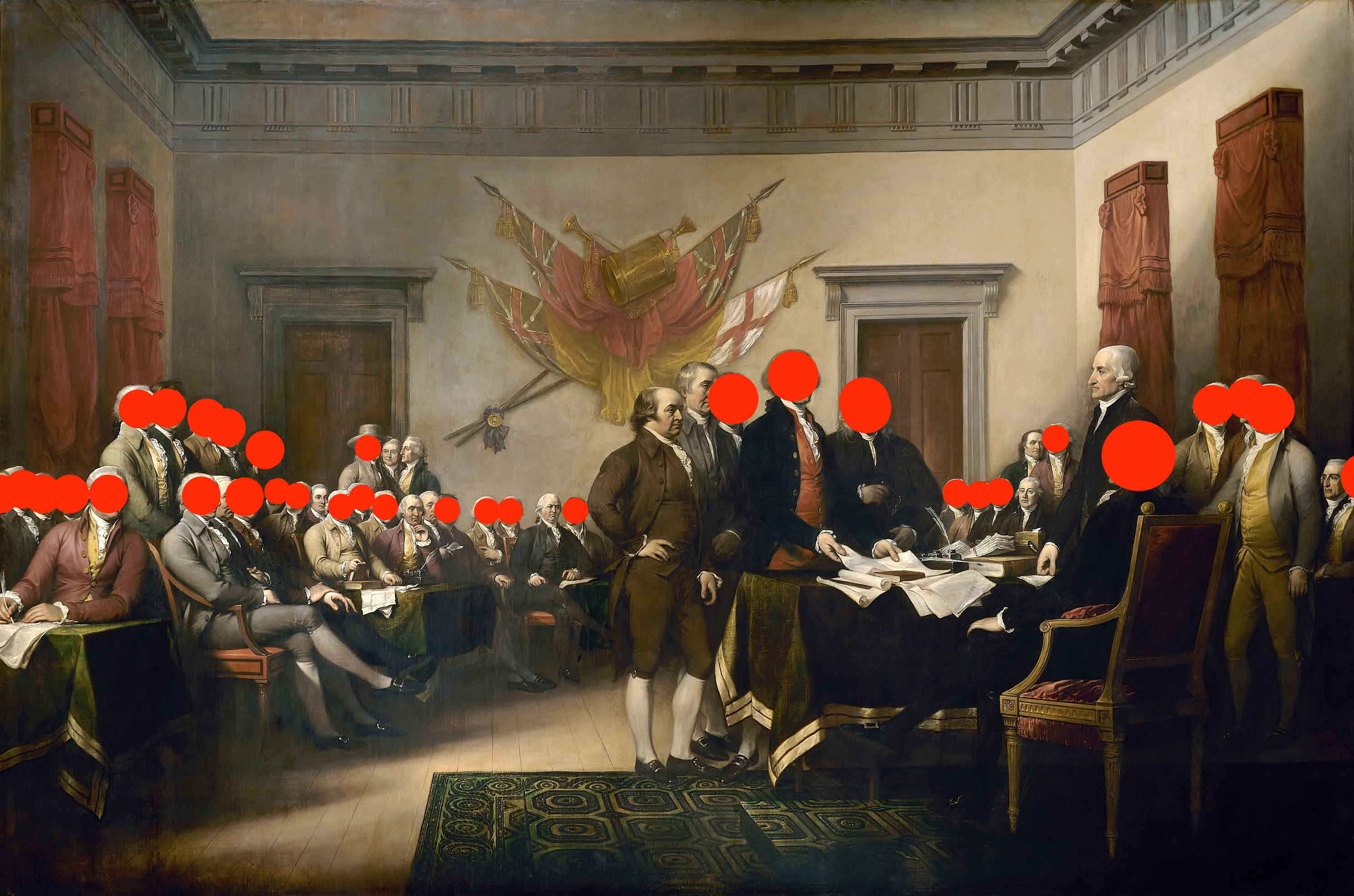 "John Trumbull's 1818 oil painting ""Declaration of Independence,"" with red dots on the faces of all the men who owned slaves."