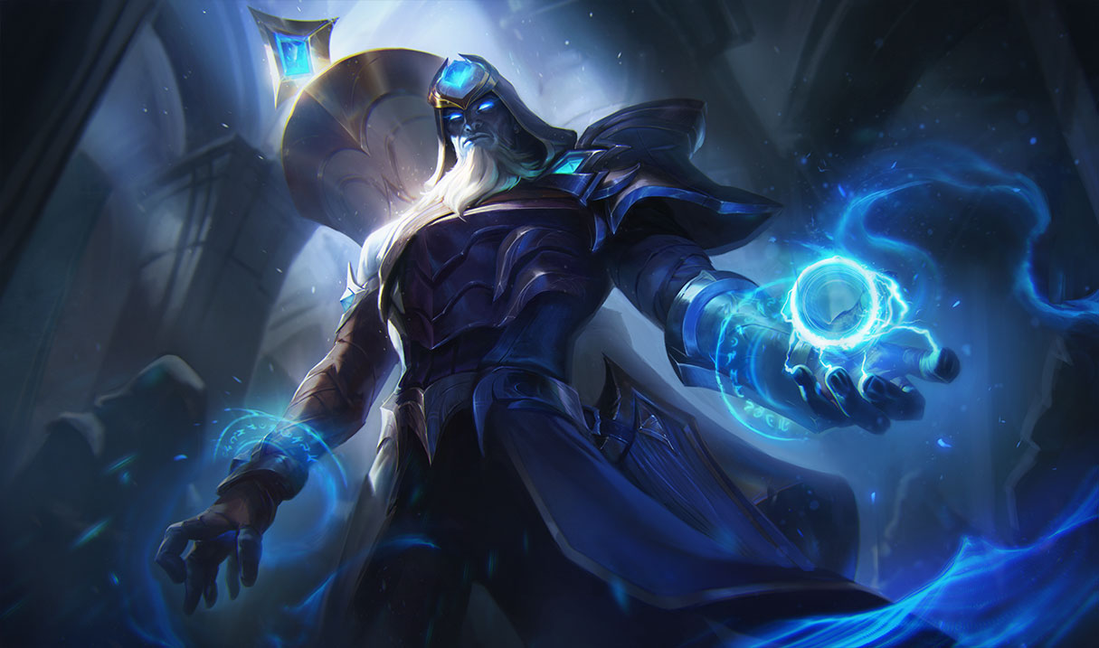 Championship Ryze holds a blue ball of energy while looking down at the viewer