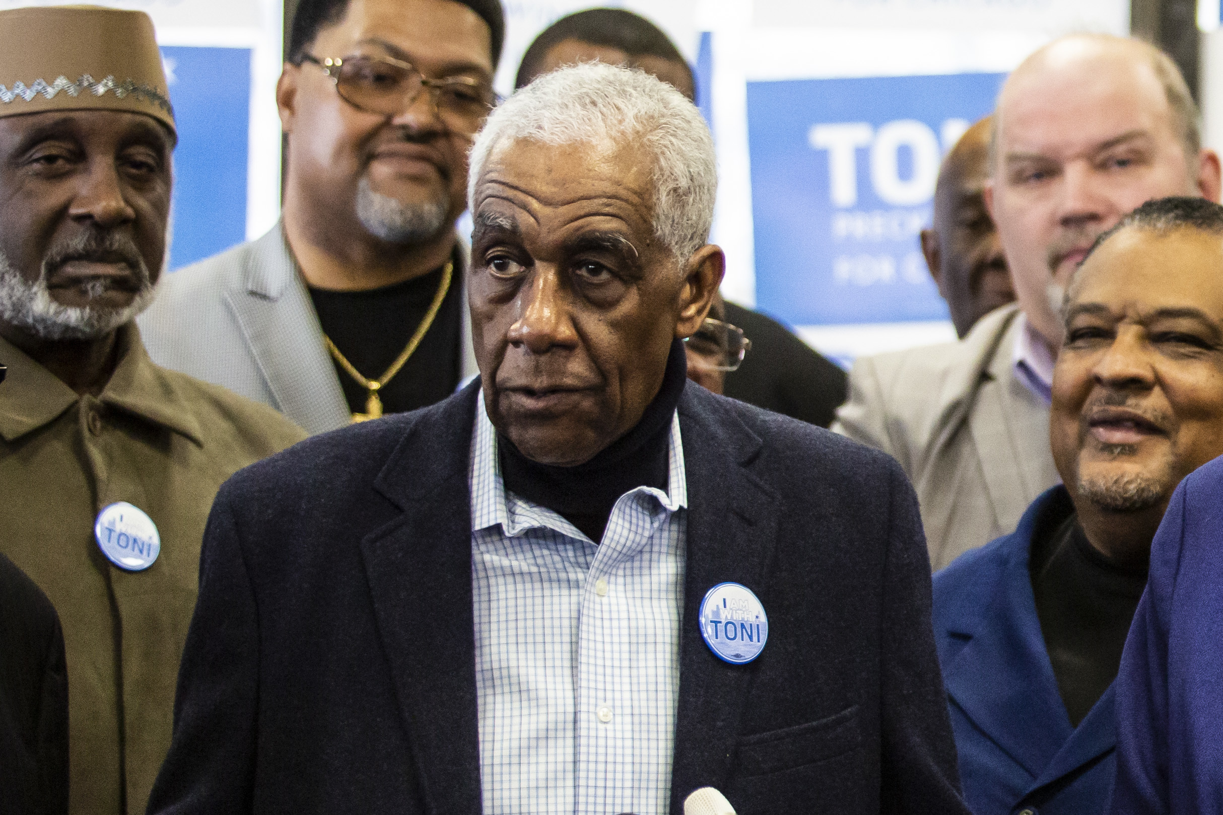 Rev. Leon Finney at a political event earlier this year.