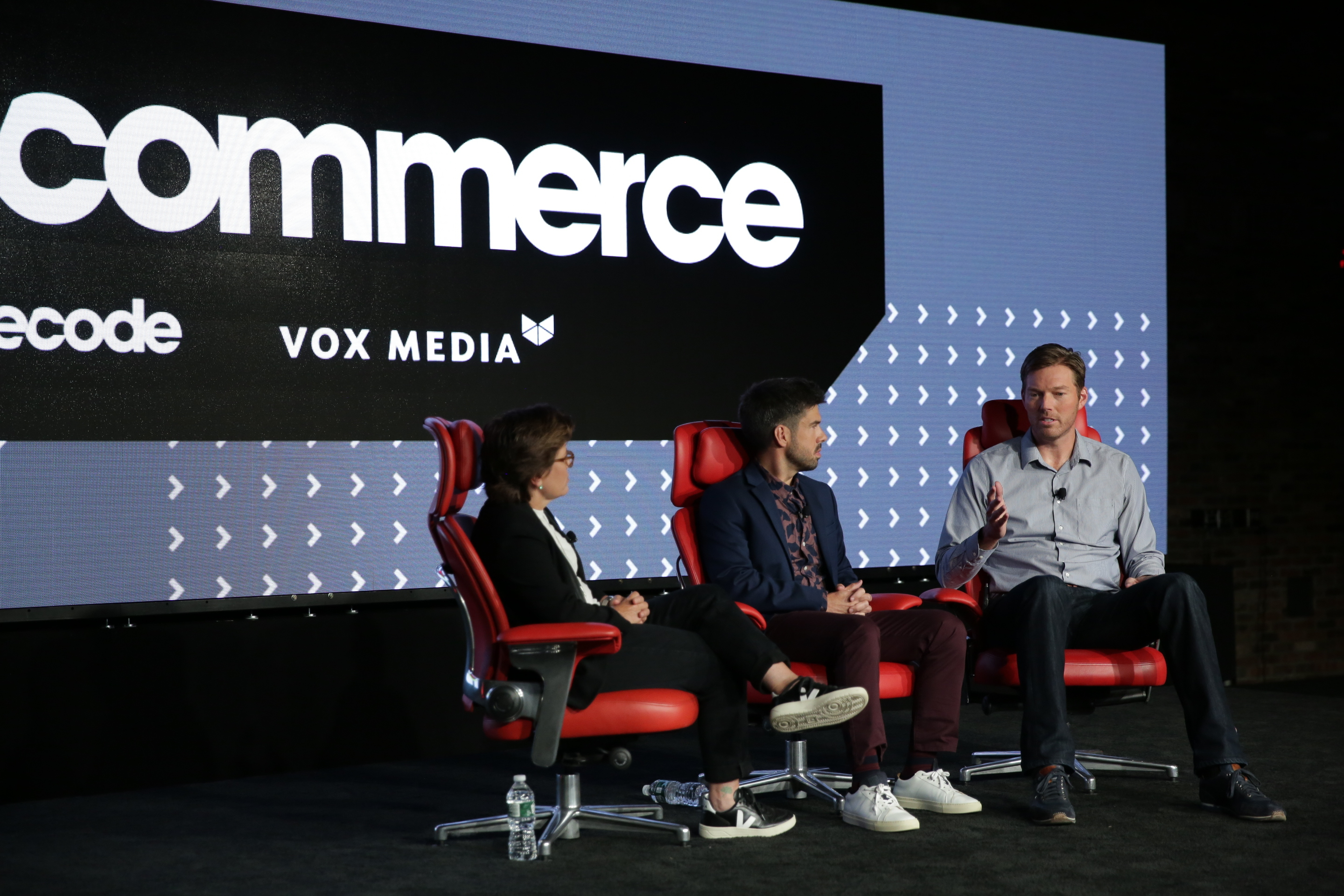 Recode's Kara Swisher and Jason Del Rey interview Jason Droege, vice president of Uber Everything, onstage at Code Commerce in New York.