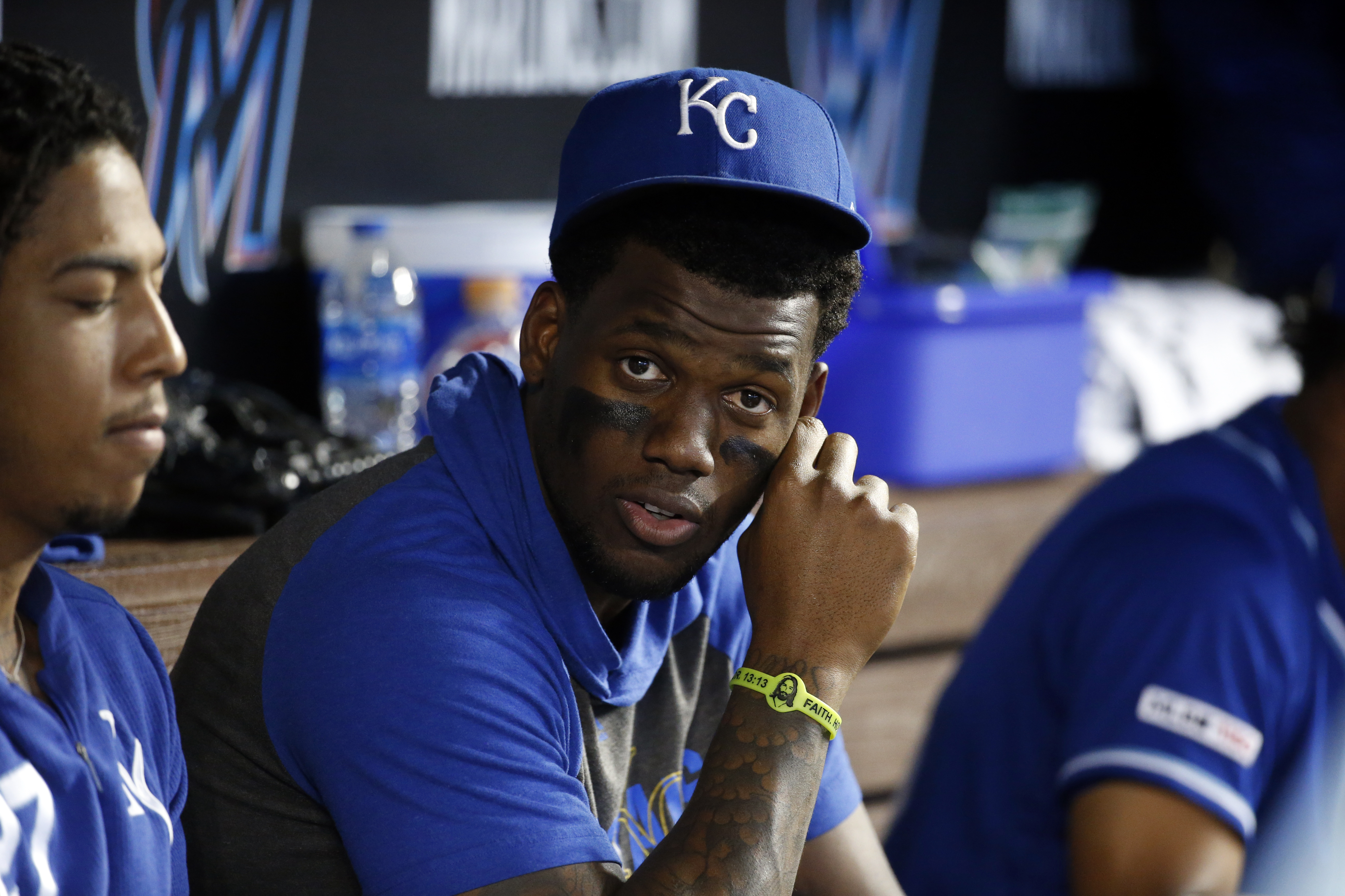 Jorge Soler #12 of the Kansas City Royals looks on in the dugout during the game against the Miami Marlins at Marlins Park on Sunday, September 8, 2019 in Miami, Florida.