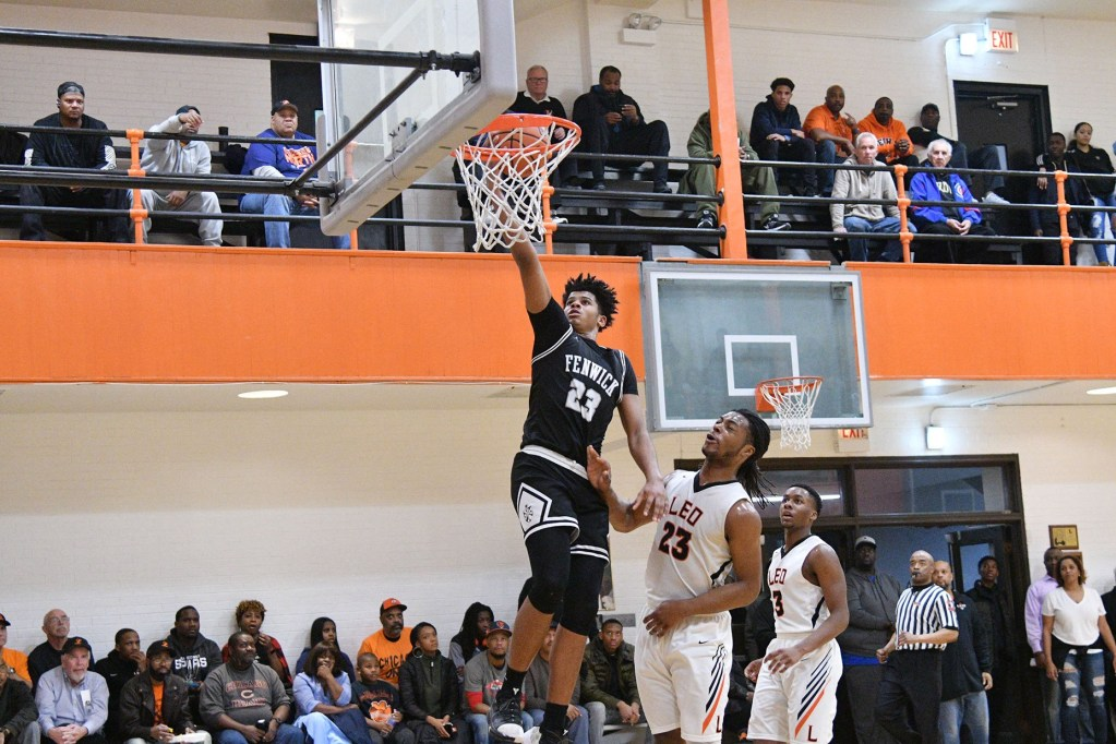 Fenwick's Bryce Hopkins goes up for two against Leo, Saturday 01-05-19. Worsom Robinson/For the Sun-Times.
