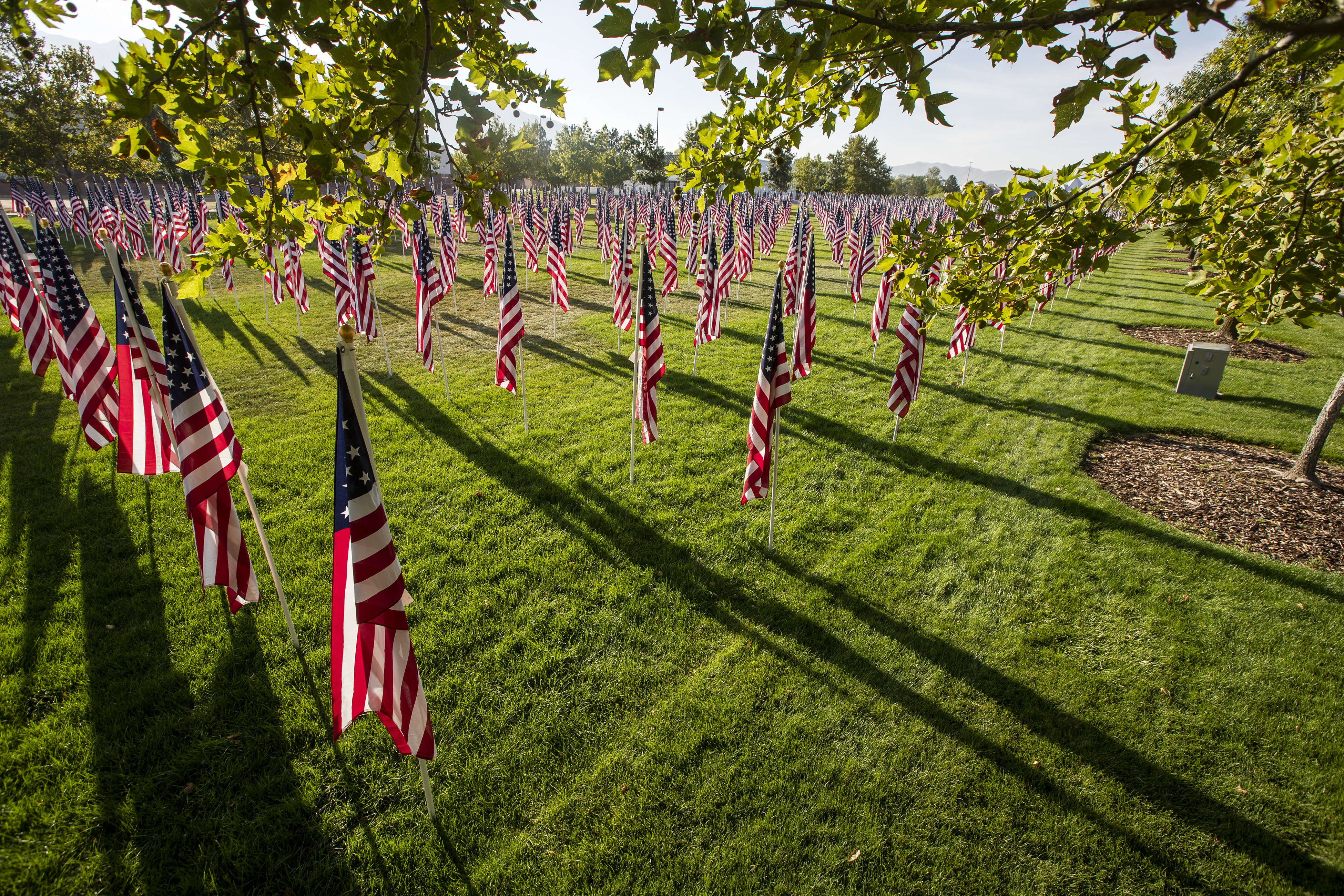 More than 3,000 flags on display on Sept. 10, 2018, near the Sandy City Hall, honoring the victims of the 9/11 terrorist attacks as the Utah Healing Field continues a local tradition that began in 2002.