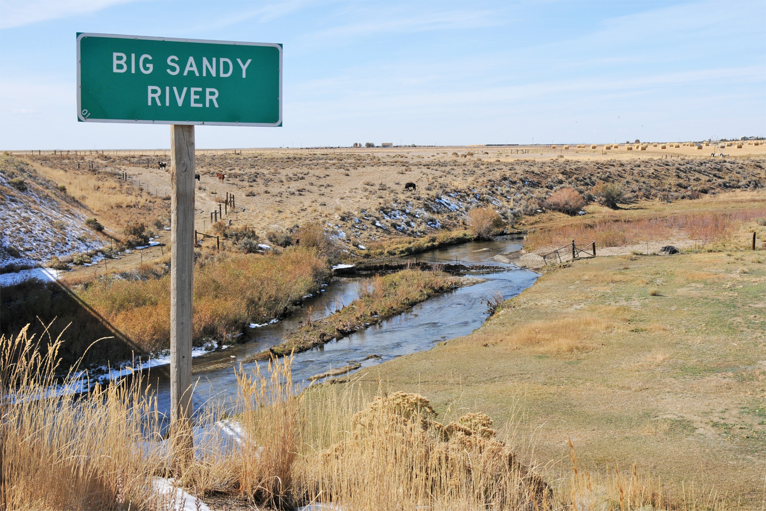 A monument on the Big Sandy River commemorates the meeting on the Little Sandy in Wyoming.