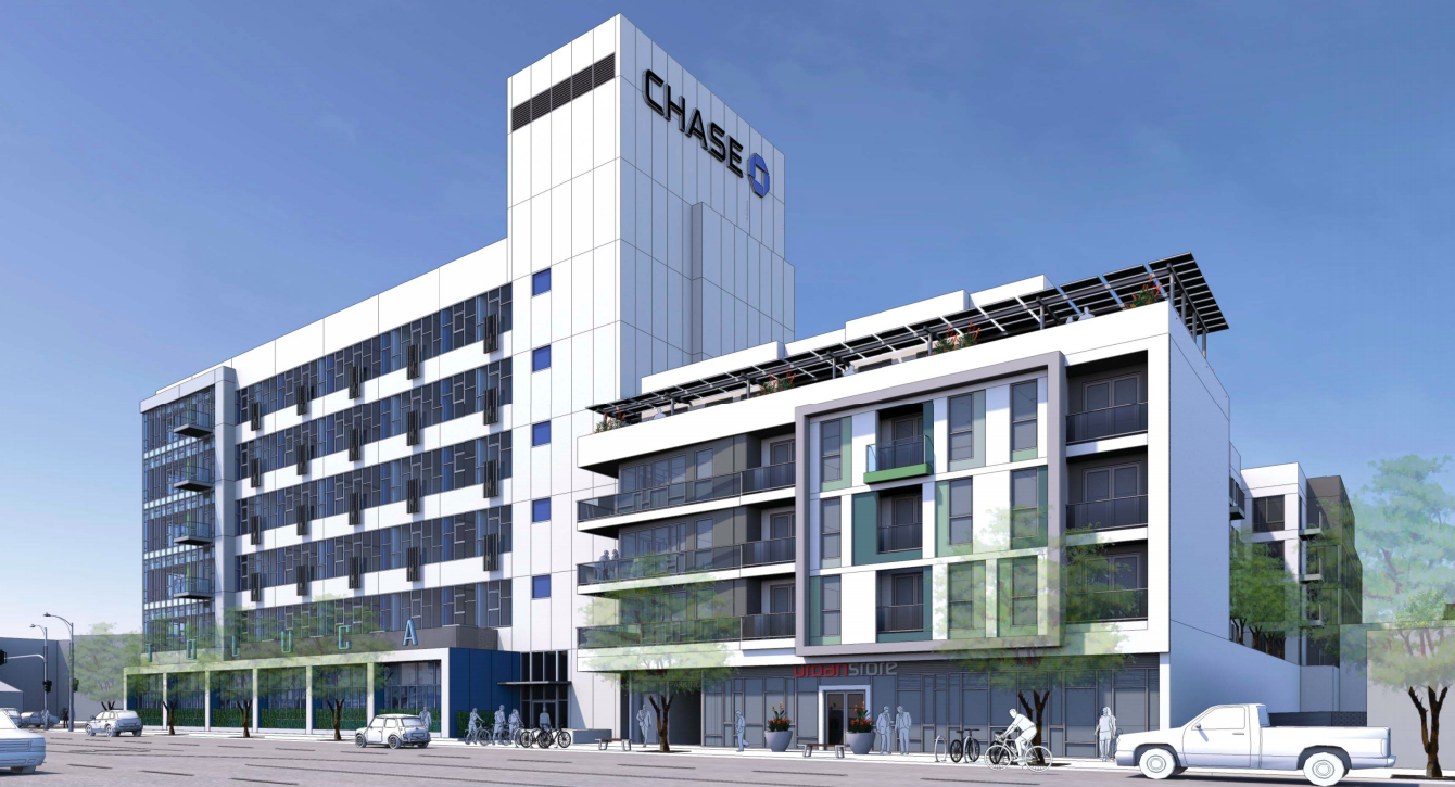 A rendering of a white building that goes from four to six stories tall. It has a Chase bank logo on it, because a part of the project repurposes a bank building.