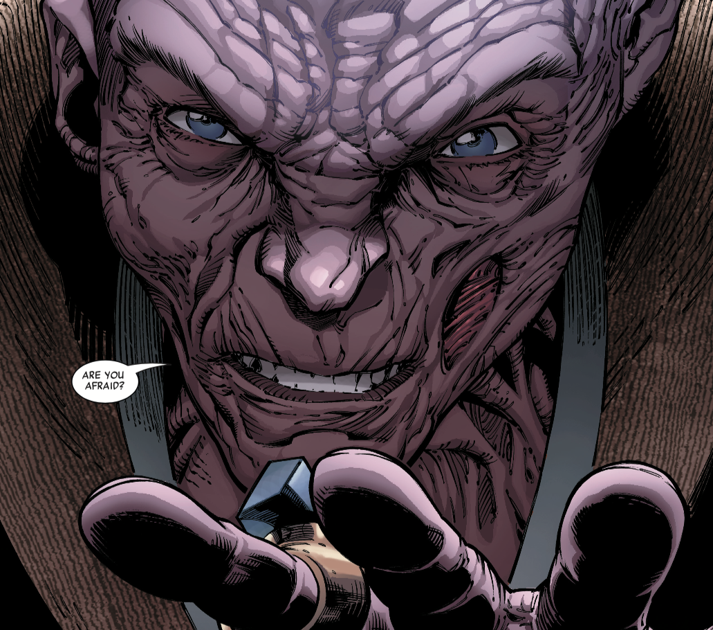 "snoke in close-up saying ""are you afraid?"" while holding out his hand to use the force"