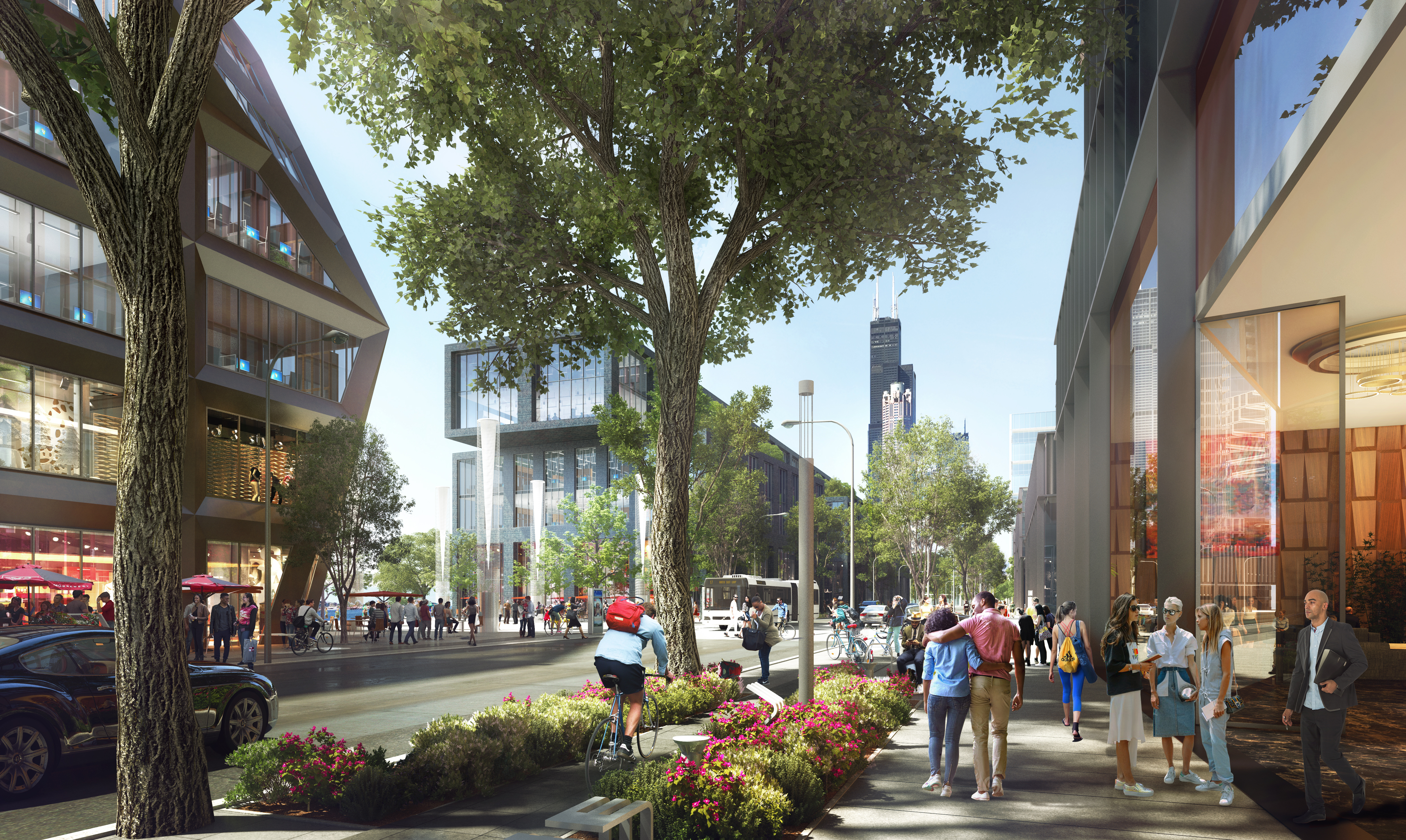 An image of a new road with a bike lane that has landscaping on both sides, a sidewalk with tall trees nearby, and modern glassy and concrete shops. In the distance tall downtown towers.