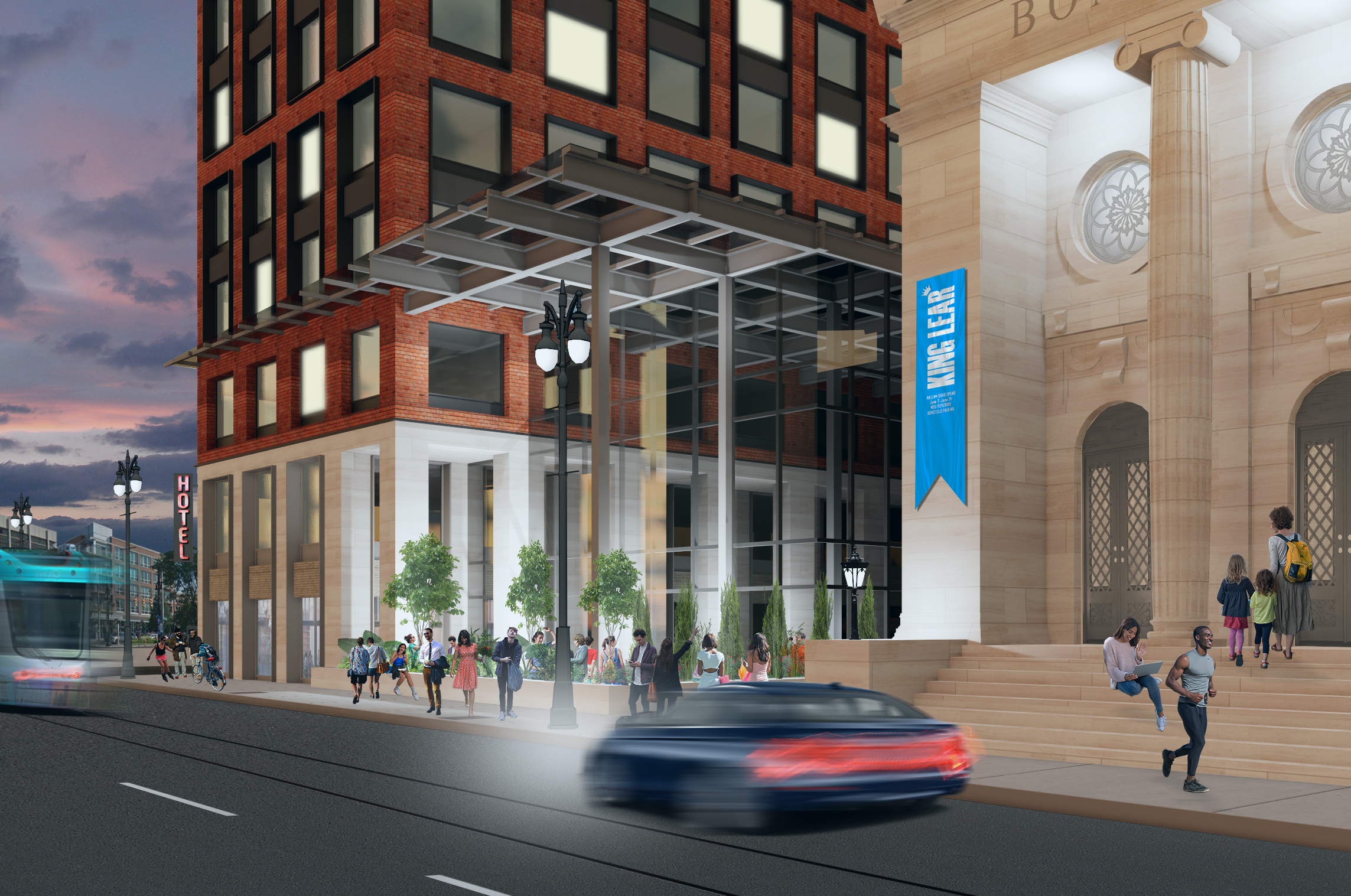 Rendering of street-level view of a tall, rectangular building on the left. On the right is a neo-classical building made of white marble with columns and wide steps leading to the entrance.