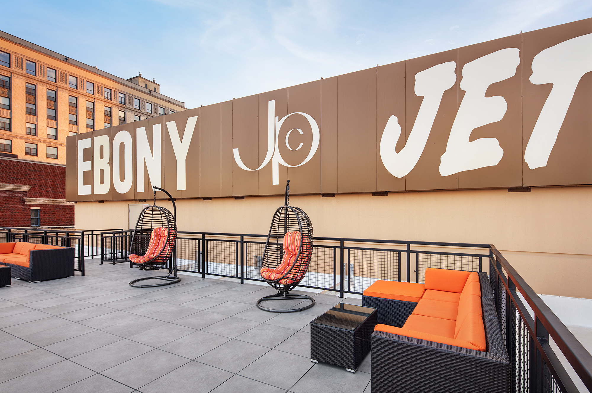 New lobby, rooftop of Johnson Publishing building note history of Chicago landmark