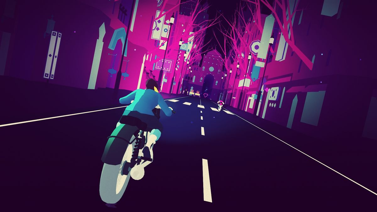 Sayonara Wild Hearts gameplay puts the main character on a motorcycle and flings them through a neon world.
