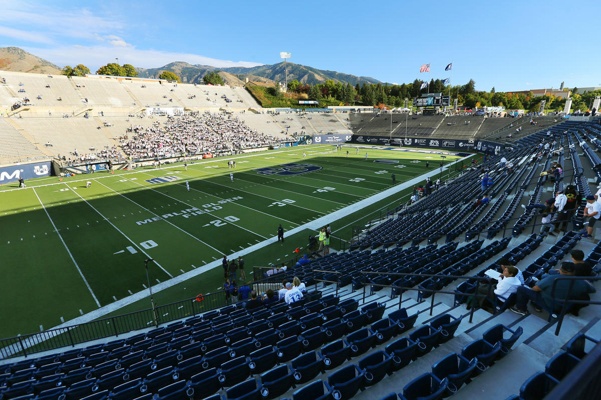 BYU and USU prepare to play at Maverik Stadium in Logan Utah on Friday, Sept. 29, 2017.