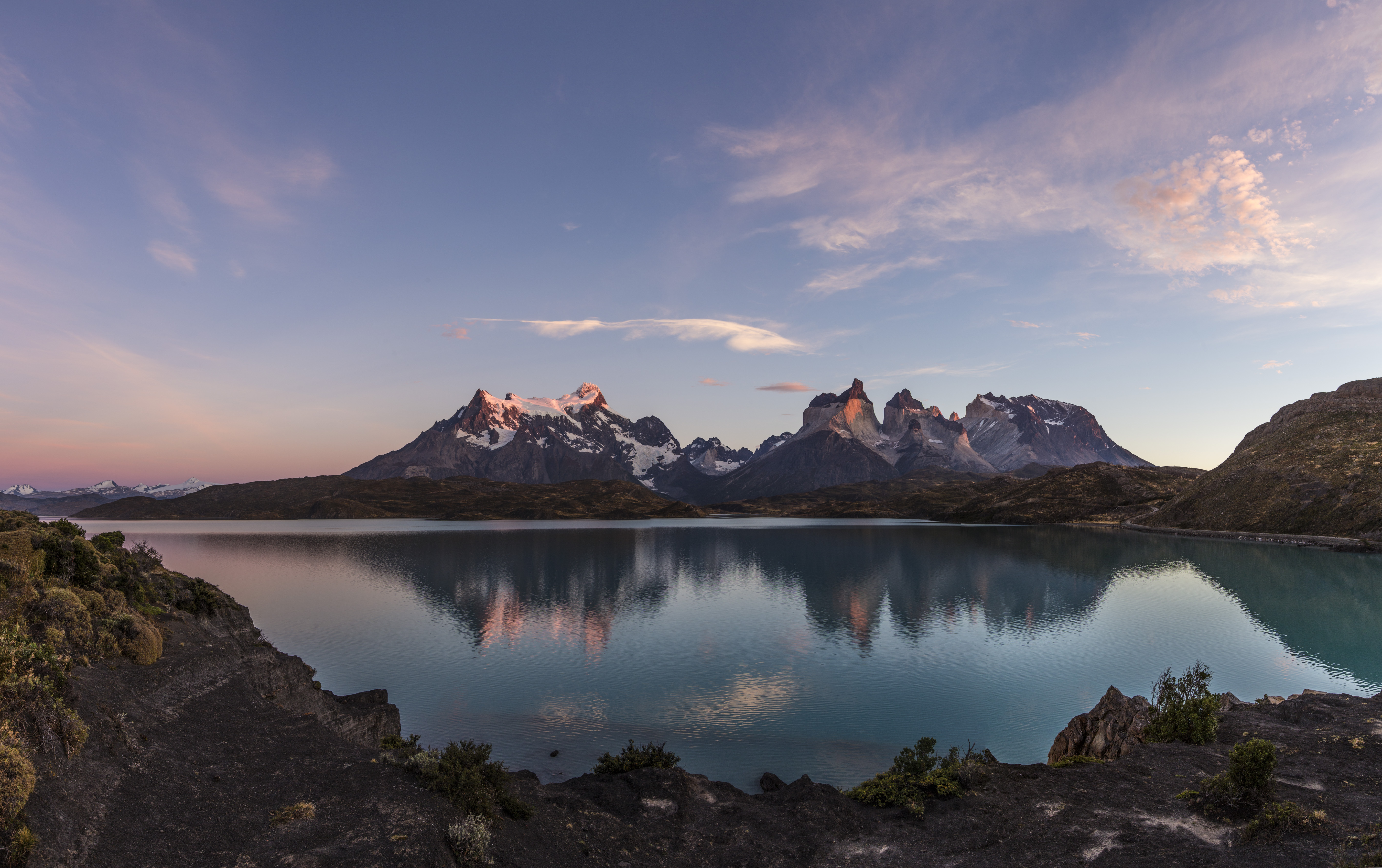 Sunrise view of the Paine Massif with reflections