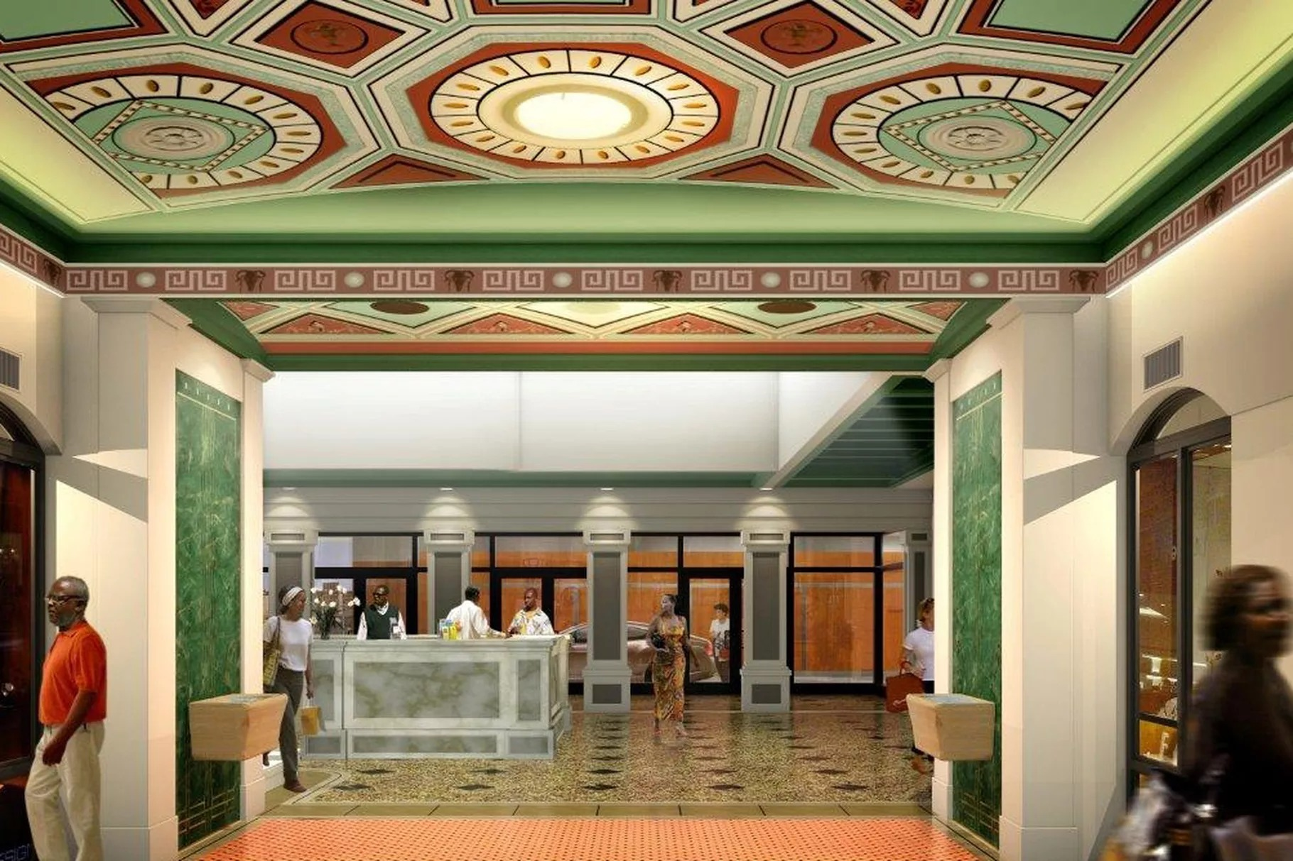 A digital rendering of the Victoria Theater's interior shows an ornate green and red ceiling with a geometric pattern, a marble reception desk, and a polished copper floor.