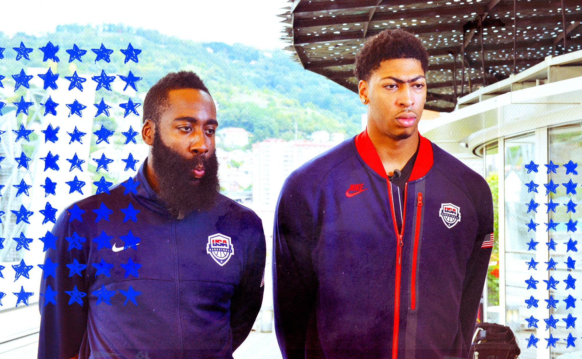 James Harden and Anthony Davis standing, from left to right.