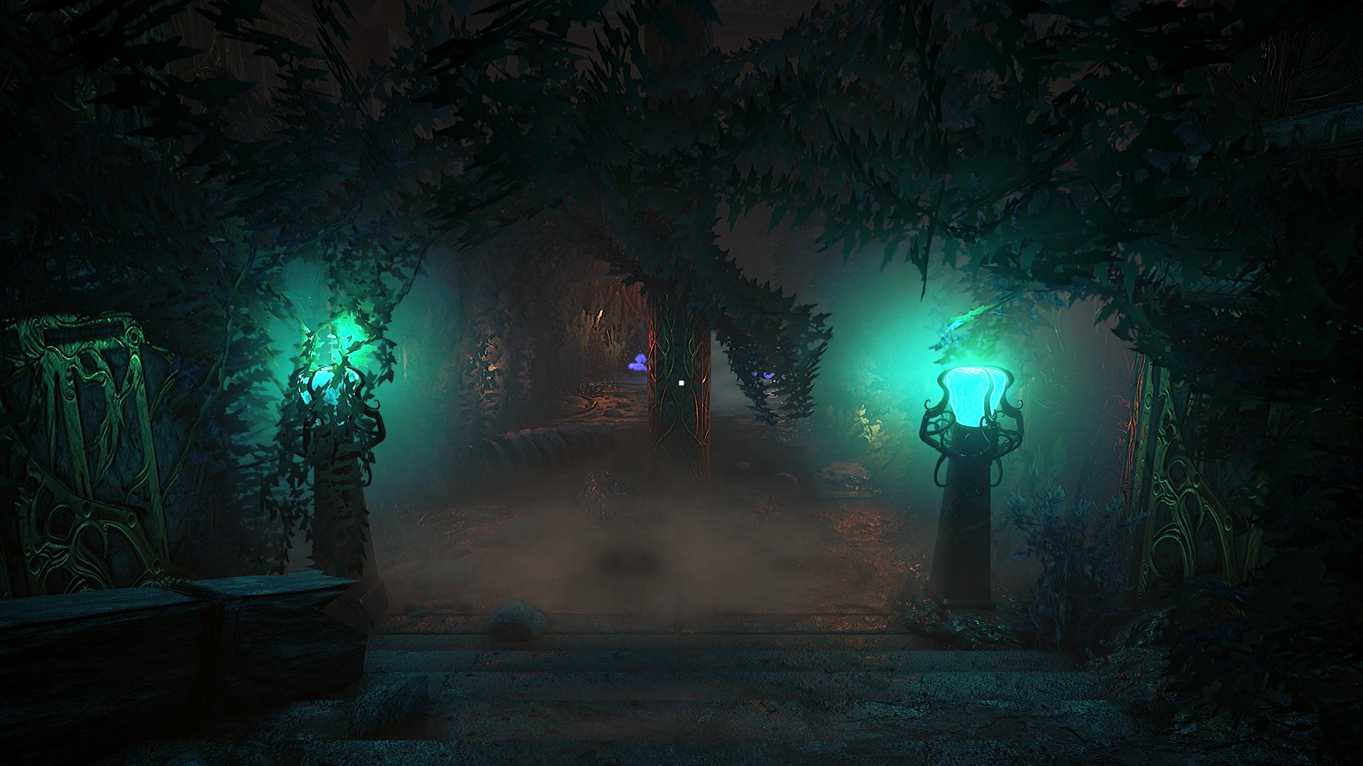 Two glowing green orbs illuminate an overgrown courtyard in a screenshot from Conarium