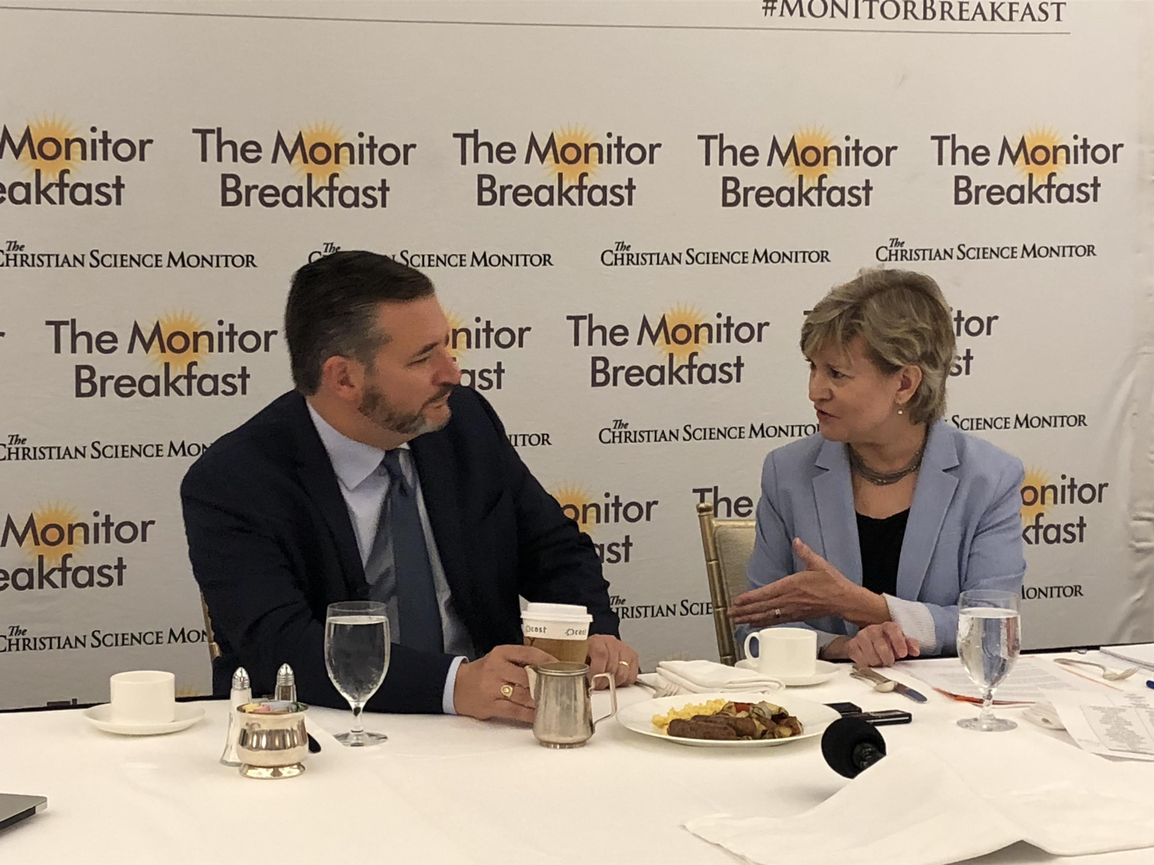 "Sen. Ted Cruz, R-Texas, at ""The Monitor Breafast"" talking with Christian Science Monitor Washington Bureau Chief Linda Feldmann."