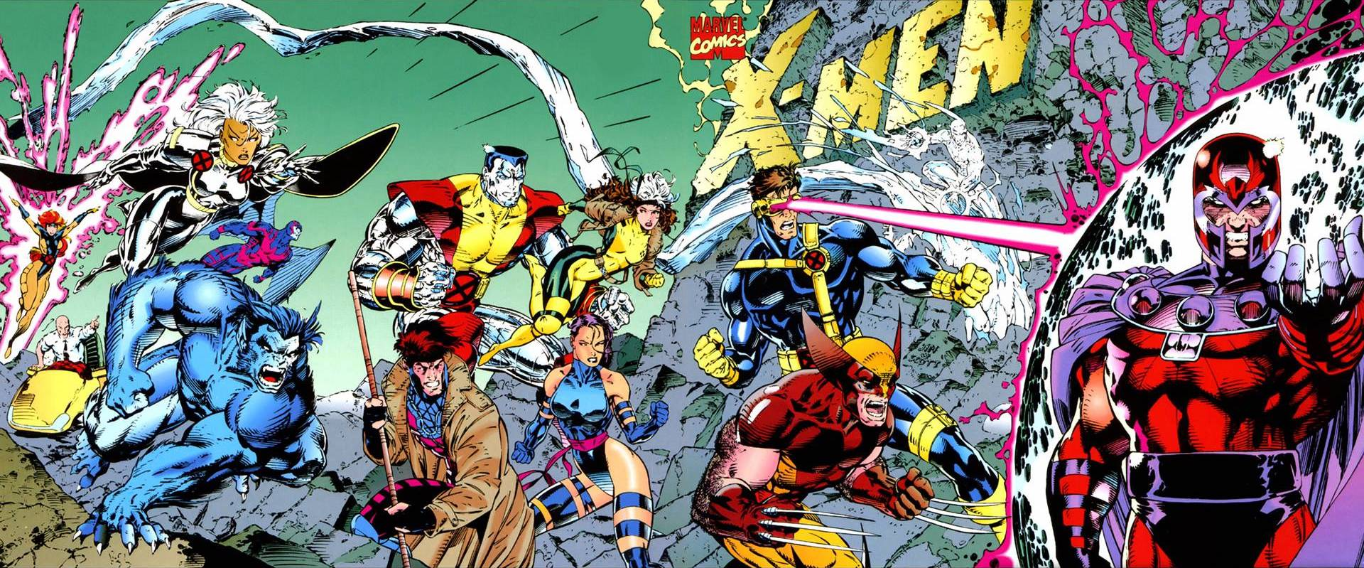 The X-Men and their foe Magneto battle across the four-cover-wide cover of X-Men #1, Marvel Comics (1991).