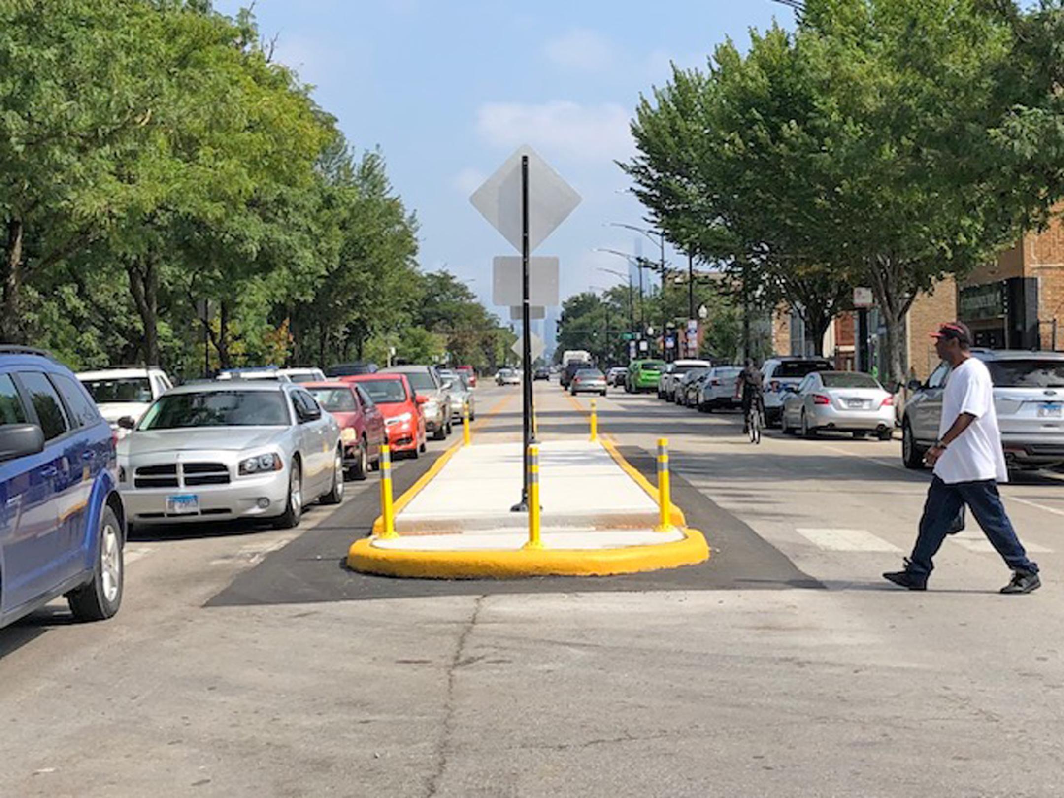 A new traffic island installed on Madison near Garfield Park.