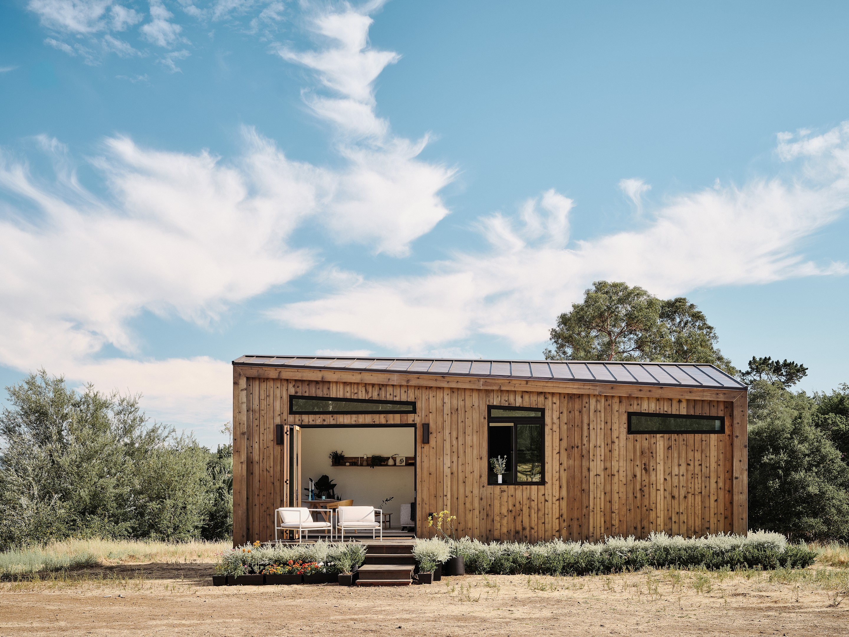 Sleek prefab cabins adapted into pre-approved ADUs