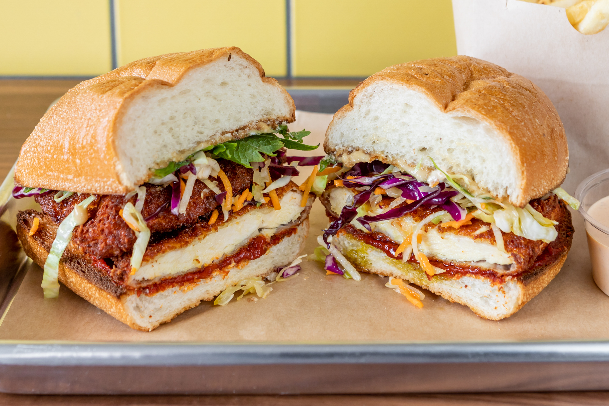 A fried chicken sandwich at Flybird