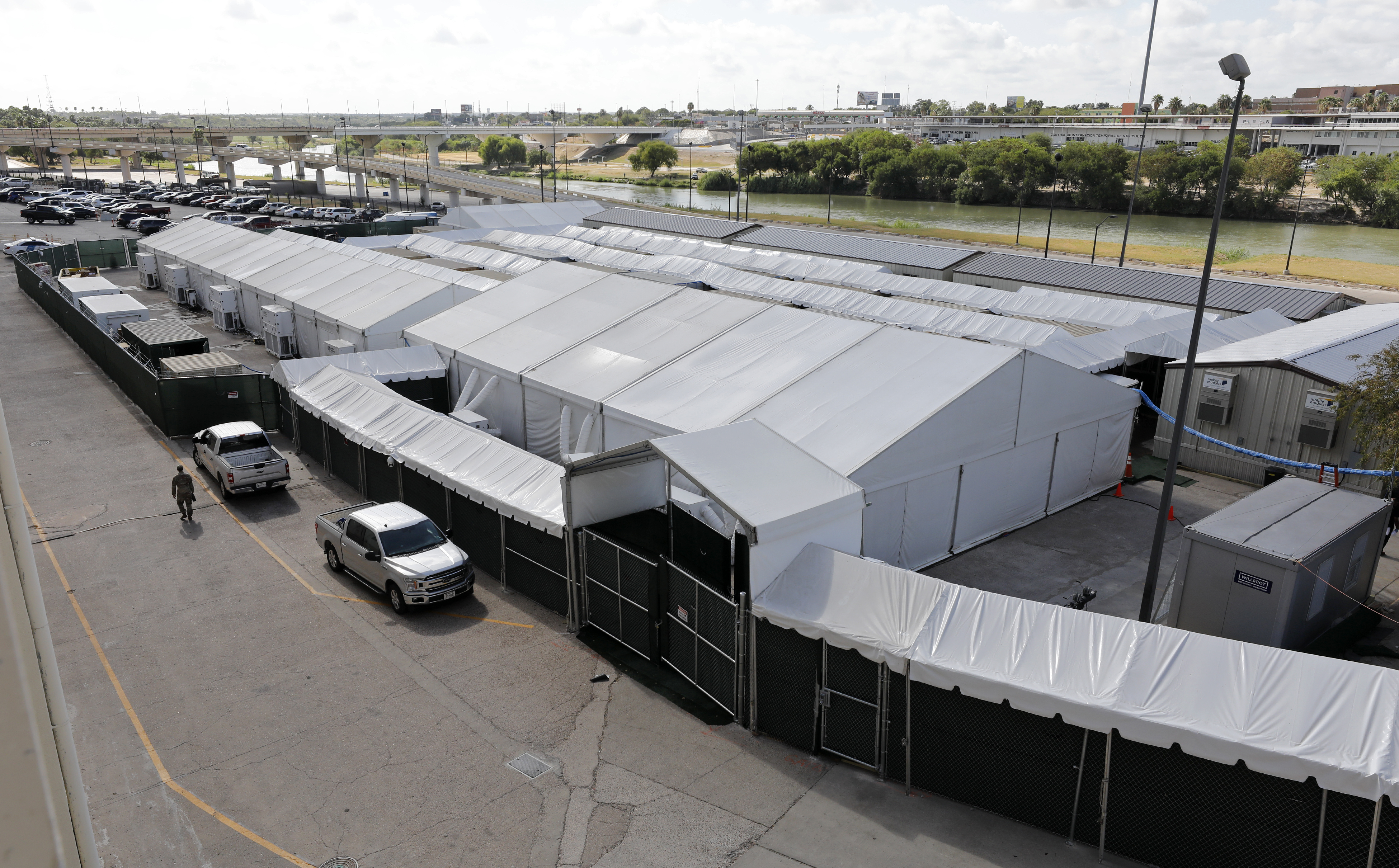 A view of the tents behind La Posada Hotel, to be used as temporary courtrooms in asylum hearings, Wednesday, Aug. 21, 2019, in Laredo, Texas. ( Edward A. Ornelas, For the Deseret News )