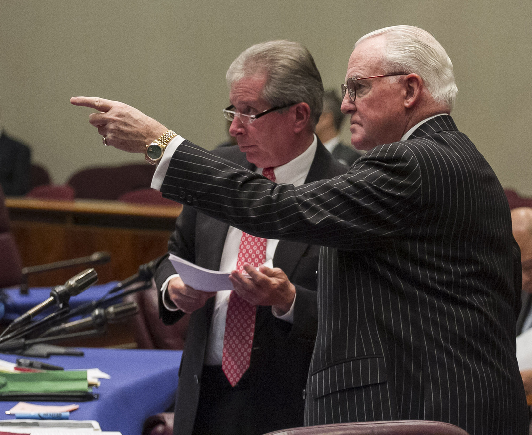 Ald. Edward M. Burke (right) conferring with then-Ald. Michael Zalewski at a meeting in November 2015.