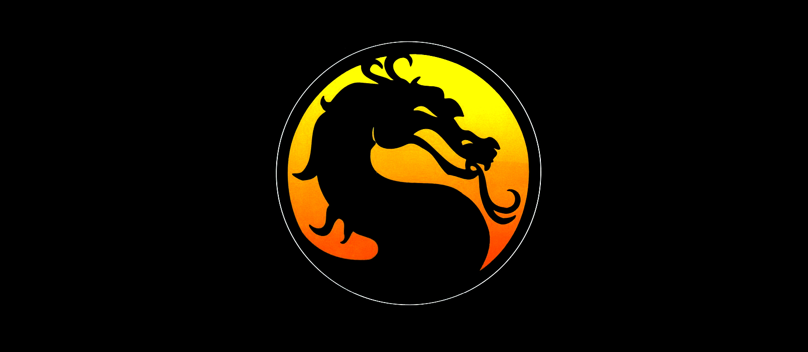 A dragon logo from Mortal Kombat 1 appears on a black background