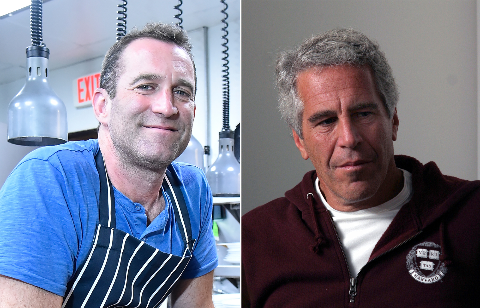 Chef Adam Perry Lang in a blue t-shirt and Jeffrey Epstein in a red Harvard pull-over.