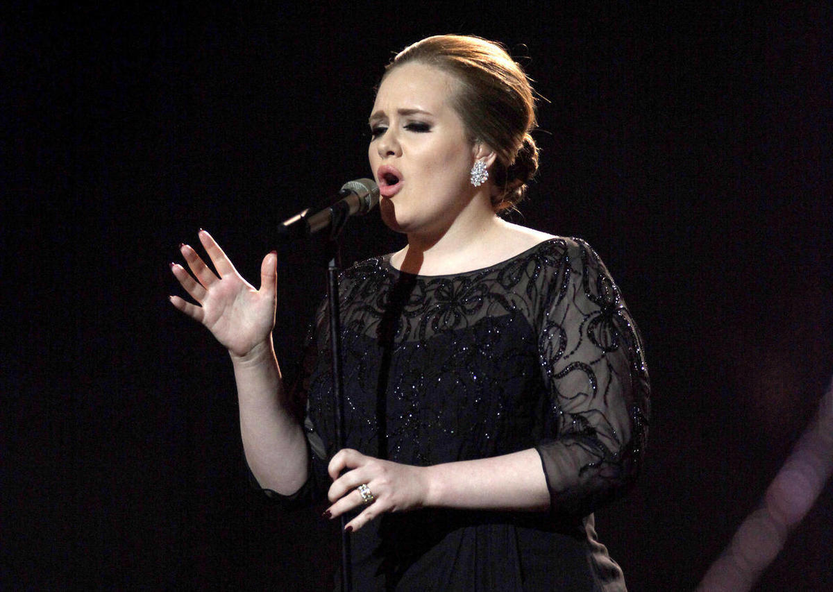 FILE - In this Feb. 15, 2011 file photo, Adele performs on stage during the Brit Awards 2011 at The O2 Arena in London. Adele was nominated for six Grammy Awards on Wednesday, Nov. 30, 2011. The awards will be held on Feb. 12.