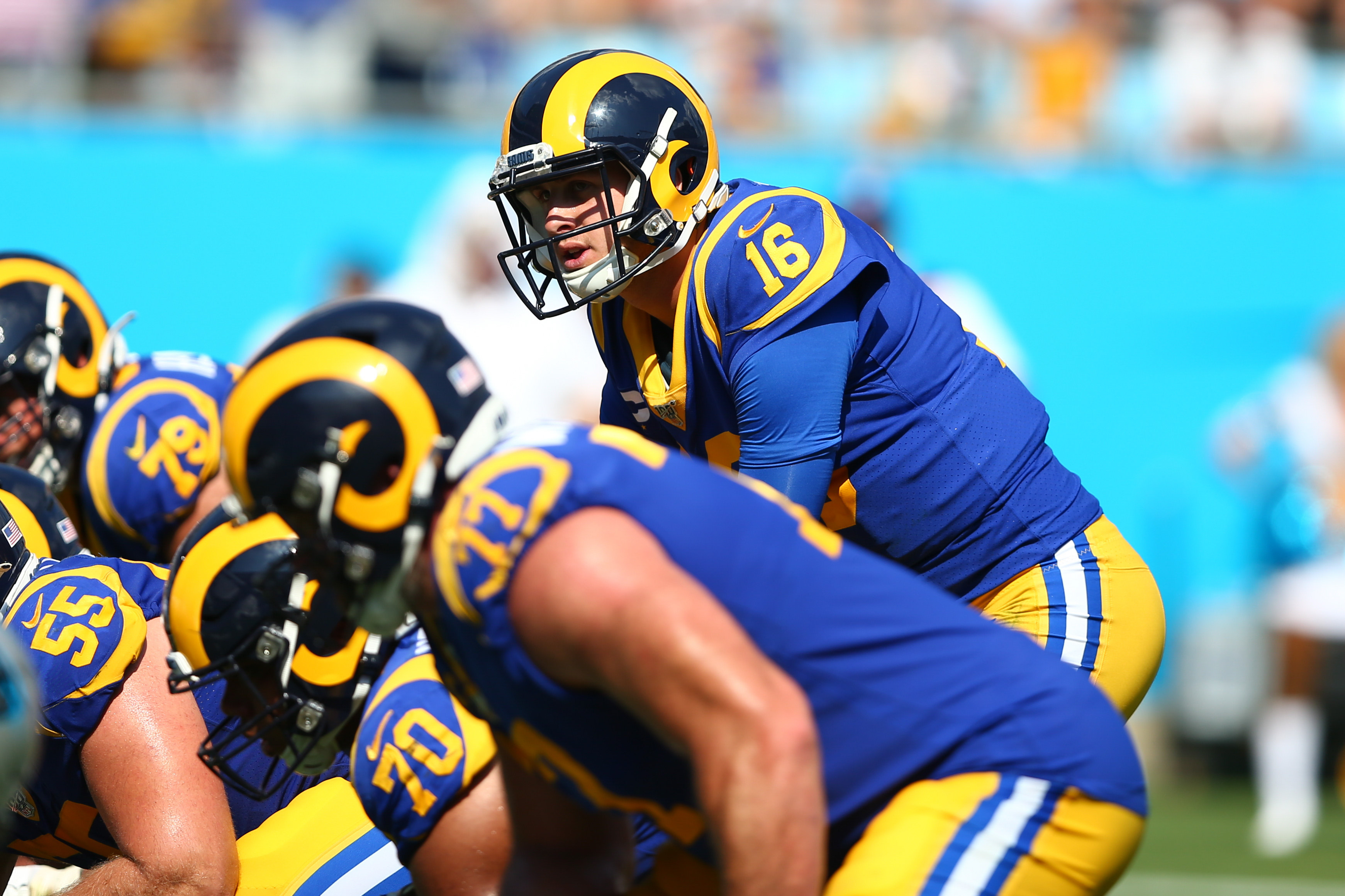Los Angeles Rams quarterback Jared Goff stands behind center during the fourth quarter against the Carolina Panthers at Bank of America Stadium.