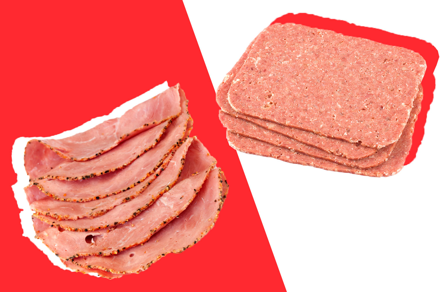 Corned beef and pastrami on a red and white background