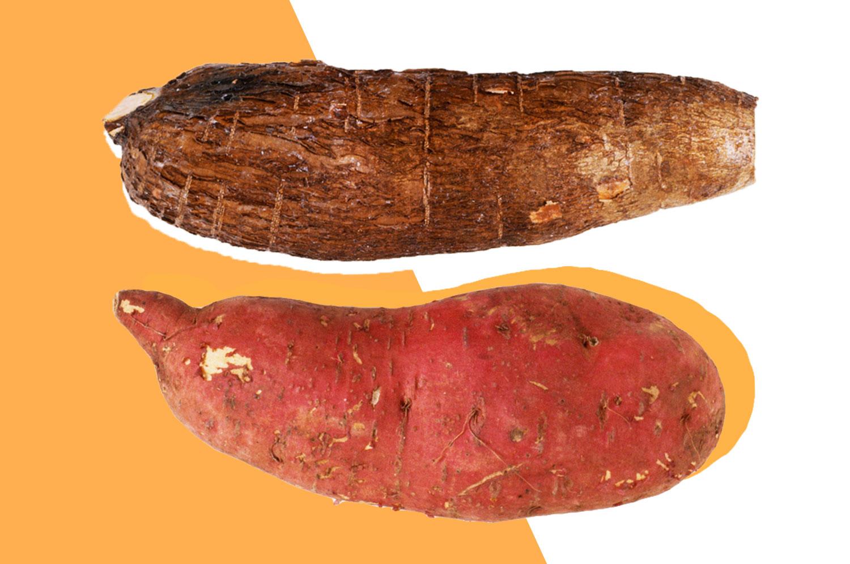 A yam and a sweet potato