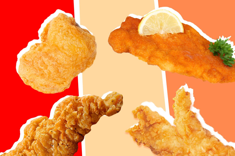 A chicken nugget, chicken tender, chicken cutlet and chicken finger