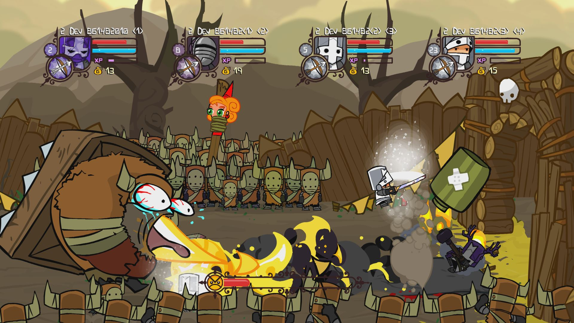 Image jam-packed with zany action showing Castle Crashers Remastered