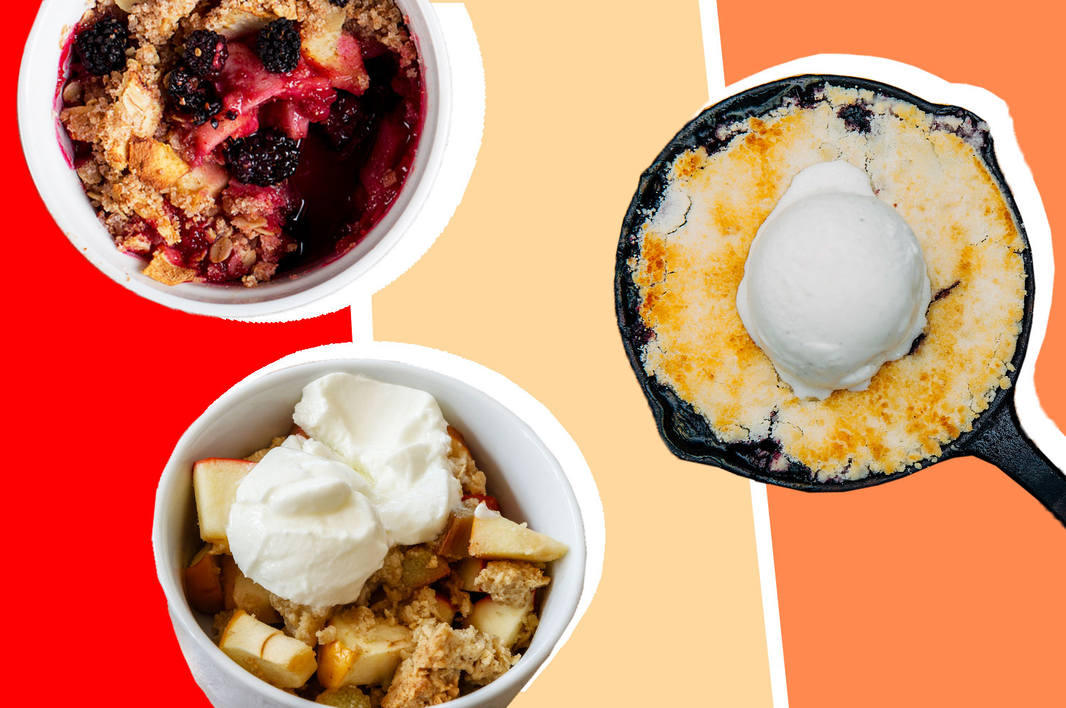 A cobbler in a skillet, a bowl of apple crisp, and a bowl of fruit crumble