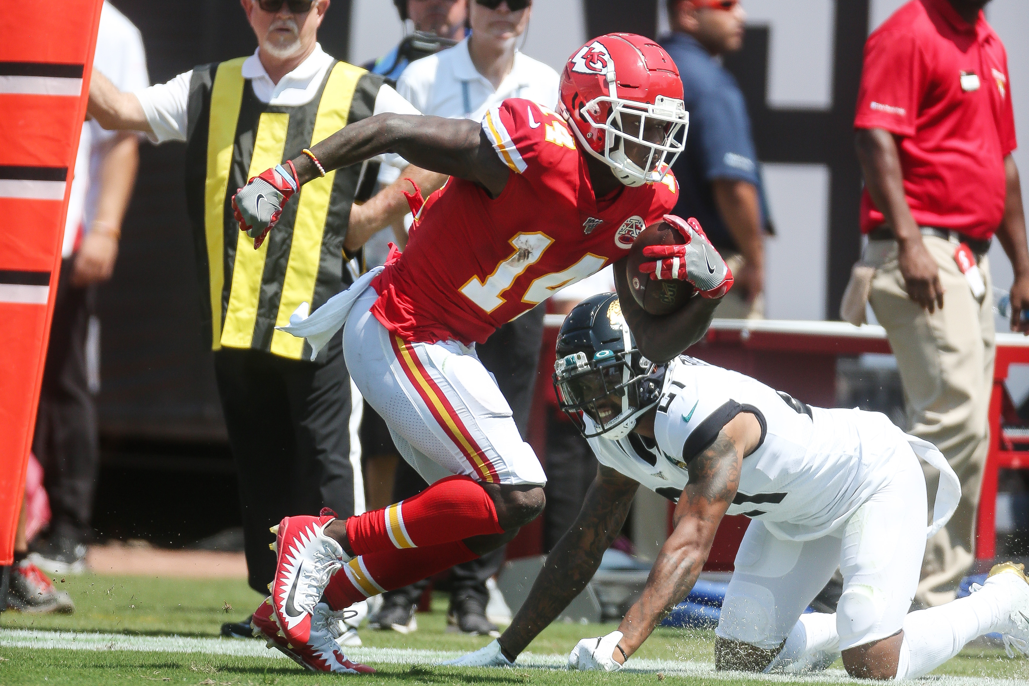 Wide receiver Sammy Watkins of the Kansas City Chiefs carries the ball during a NFL game against the Jacksonville Jaguars at TIAA Bank Field on September 10, 2019 in Jacksonville, Florida.