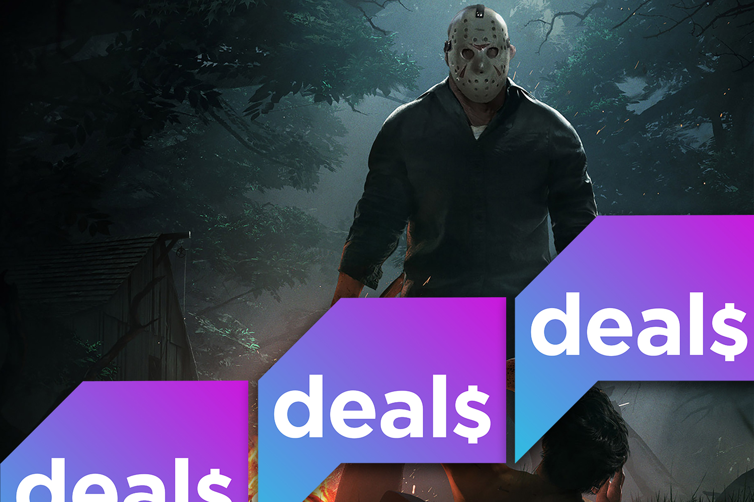Promotional image from Friday the 13th: The Game overlaid with the Polygon Deals logo