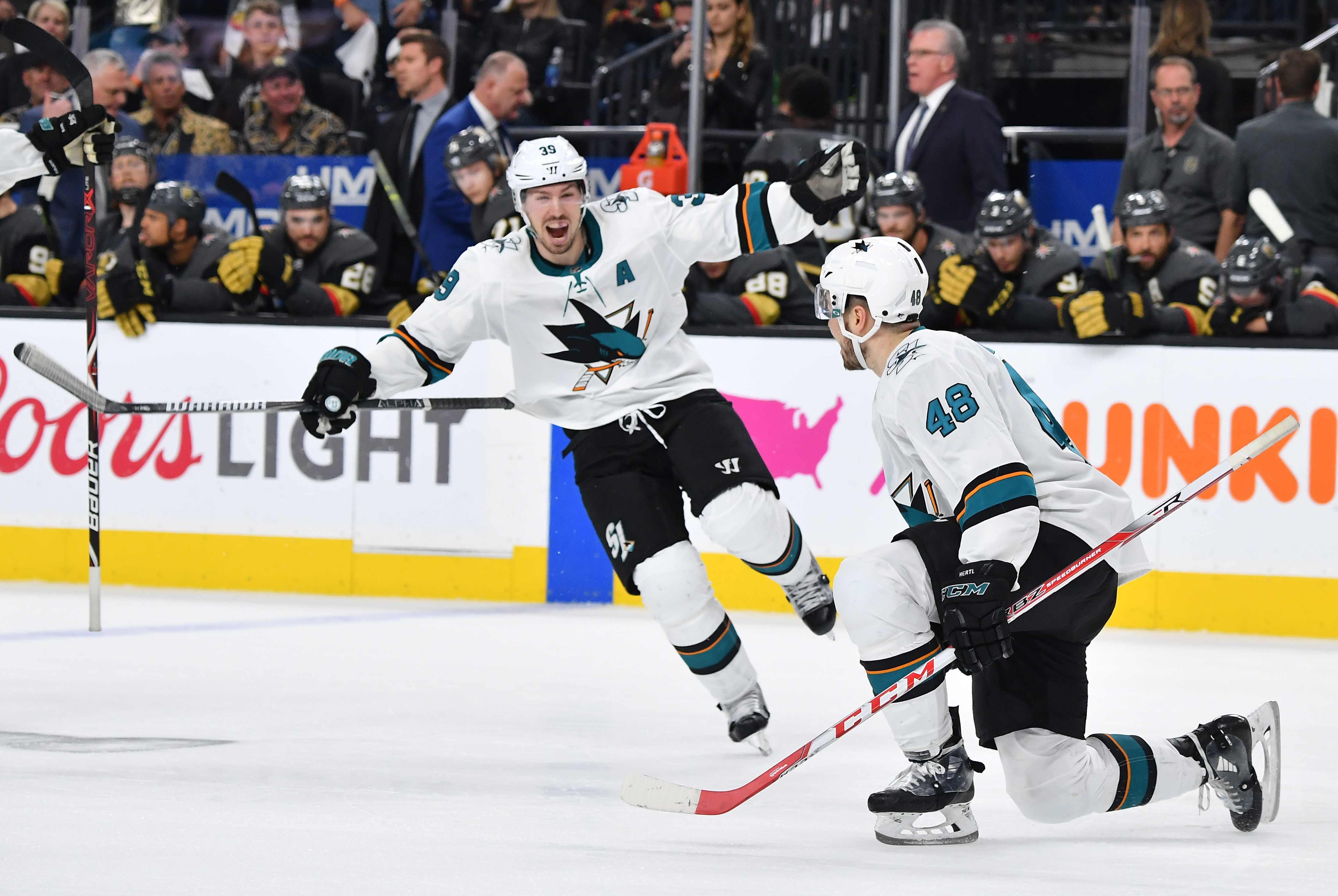 Tomas Hertl of the San Jose Sharks celebrates after scoring a goal in double overtime against the Vegas Golden Knights in Game 6 during the 2019 NHL Stanley Cup Playoffs at T-Mobile Arena on April 21, 2019 in Las Vegas, Nevada.