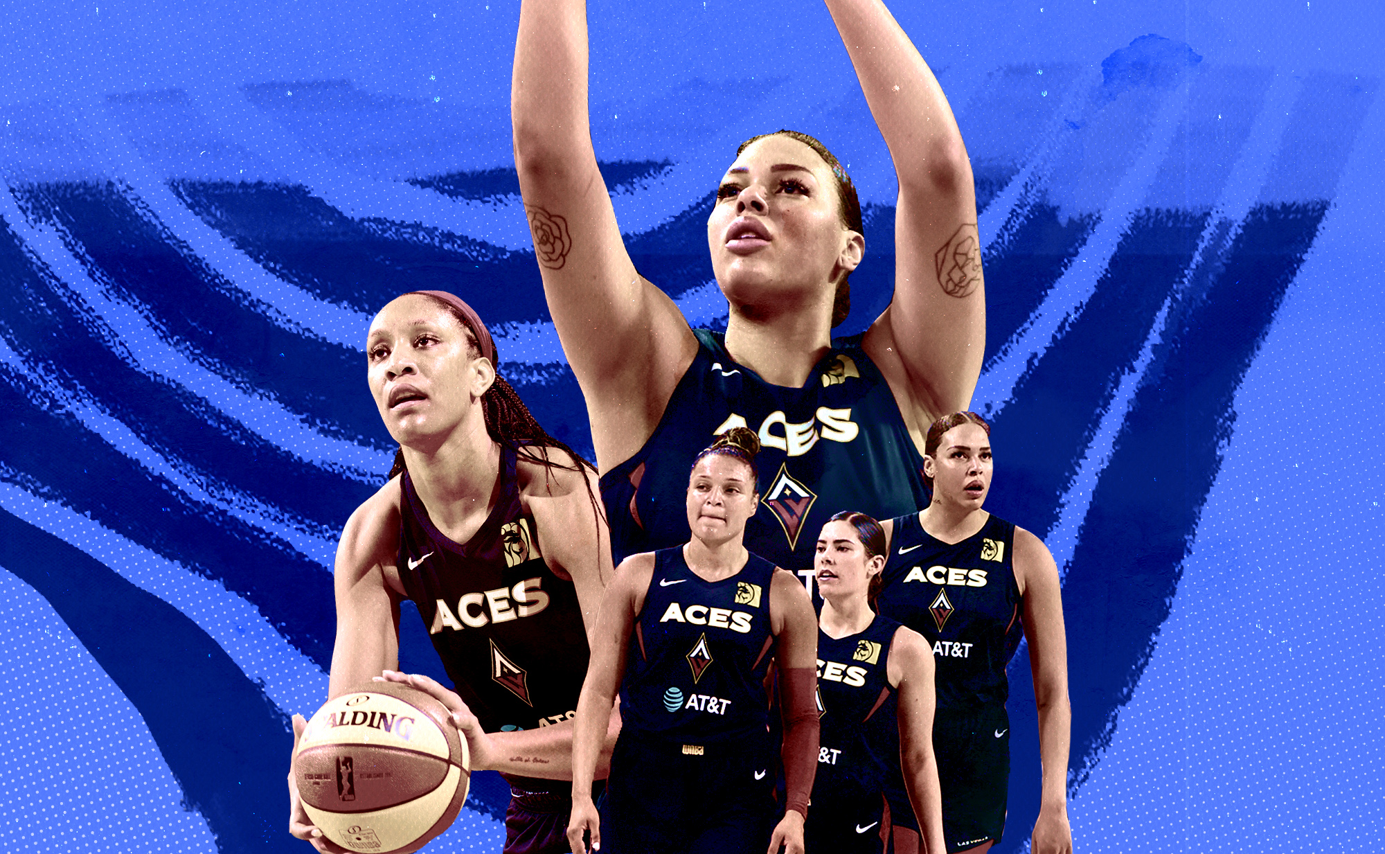 A collage of Las Vegas Aces players: A'ja Wilson, Kayla McBride, Kelsey Plum, and Liz Cambage in front row; Liz Cambage in background.