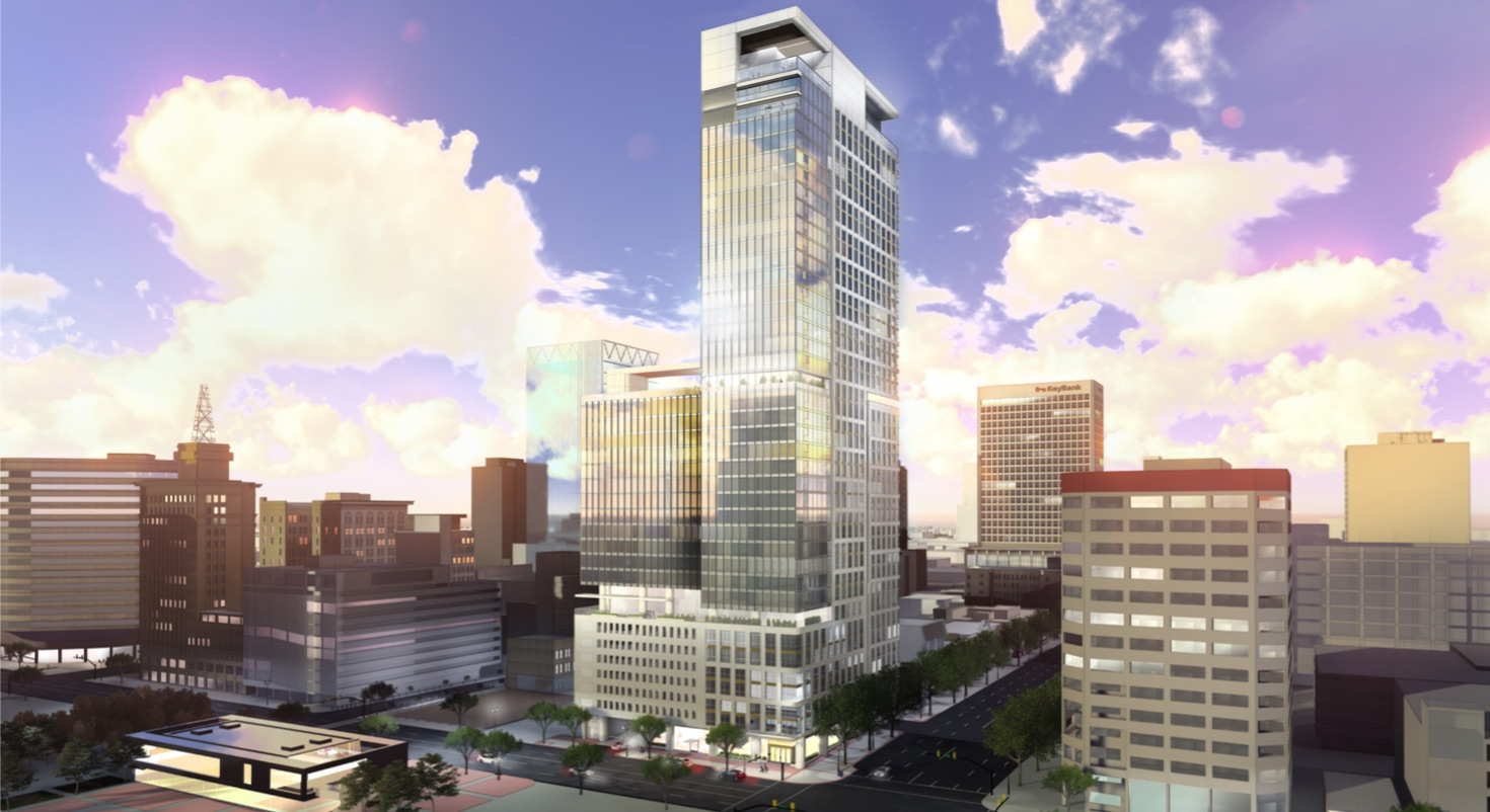 Rendering of the proposed Kensington Tower, a 448-foot skyscraper that would become the tallest addition to Salt Lake City's skyline if it's approved.