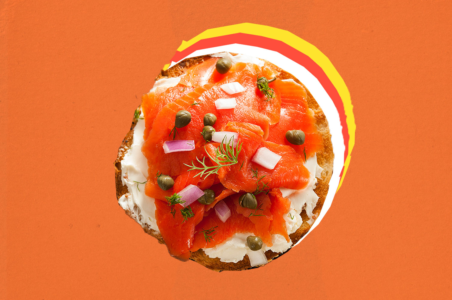 A bagel with lox and cream cheese