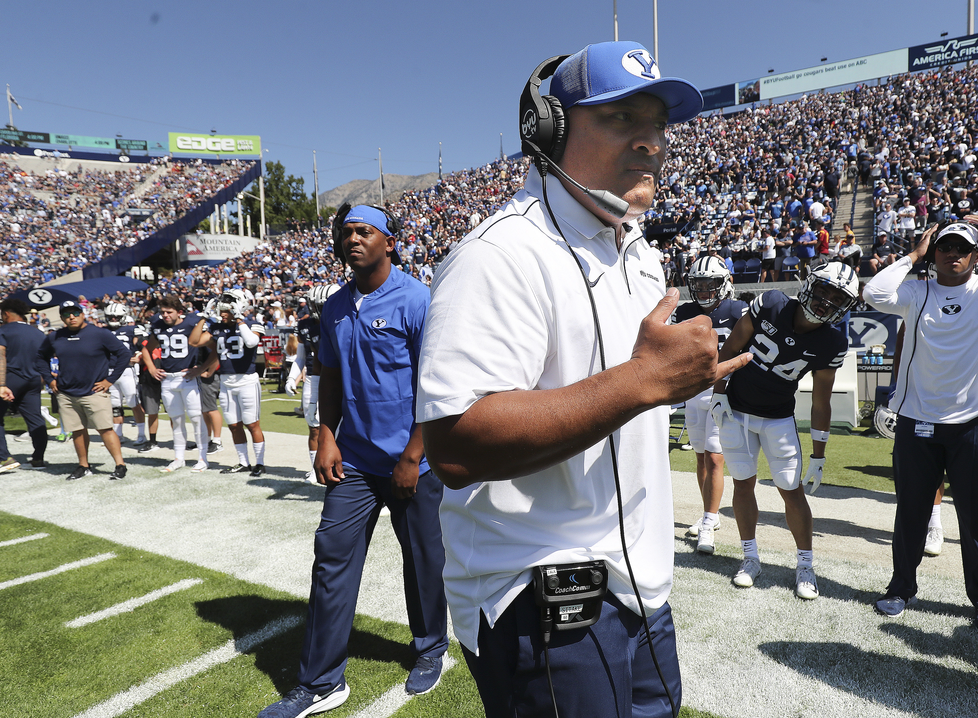 Brigham Young Cougars head coach Kalani Sitake walks the sideline in Provo on Saturday, Sept. 14, 2019. BYU won 30-27 in overtime.