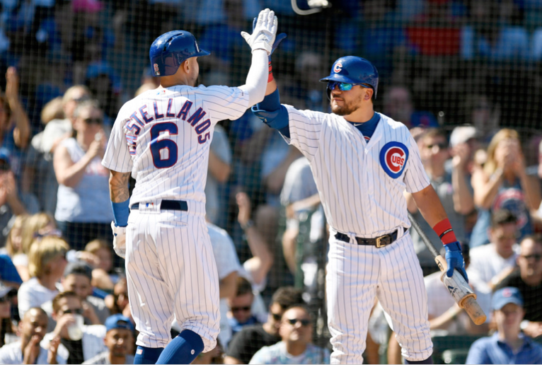 Nick Castellanos (left) celebrates with Kyle Schwarber after scoring on a Kris Bryant single during the second inning Saturday against the Pirates at Wrigley Field.