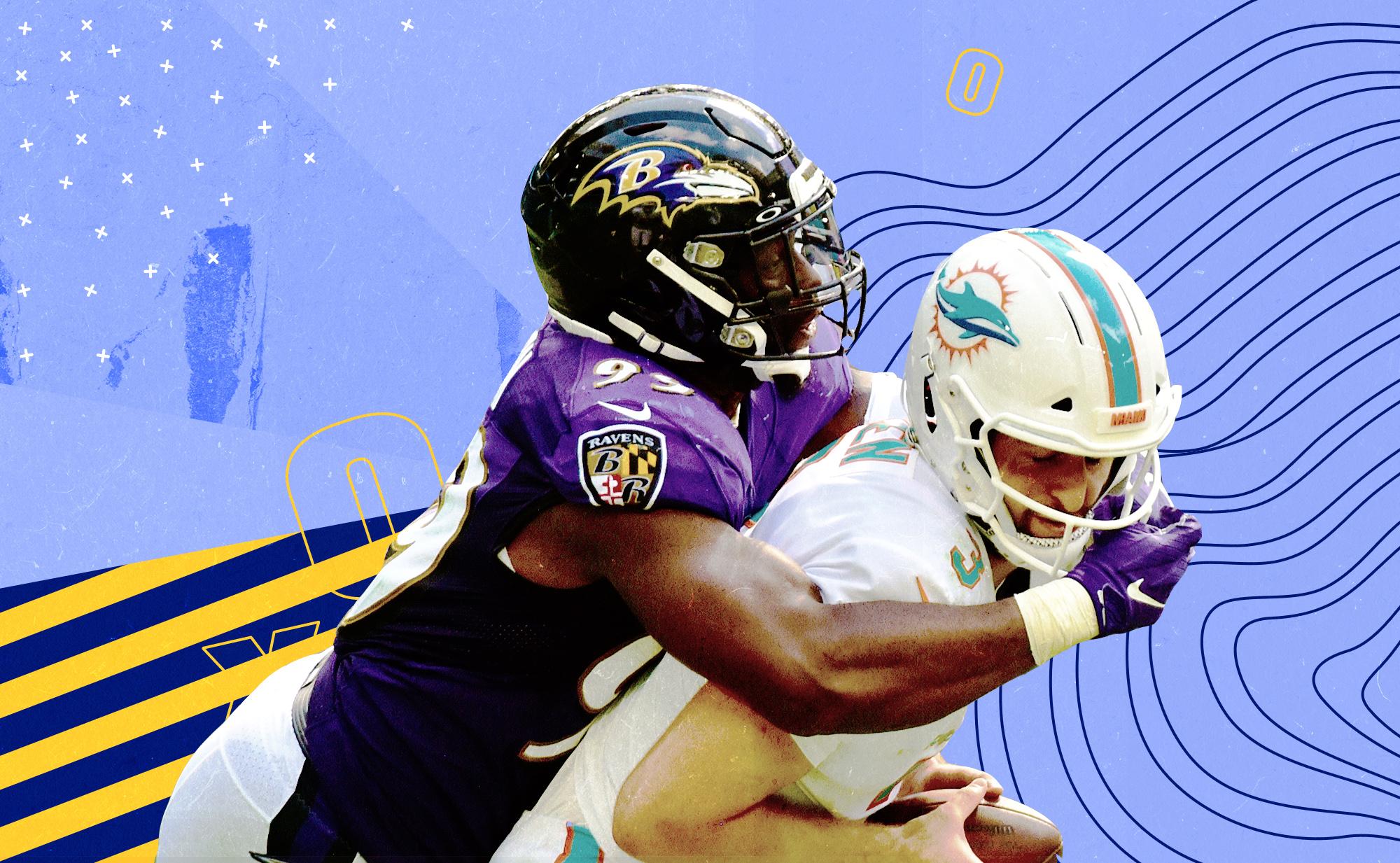 Ravens OLB Matthew Judon sacks Dolphins QB Josh Rosen