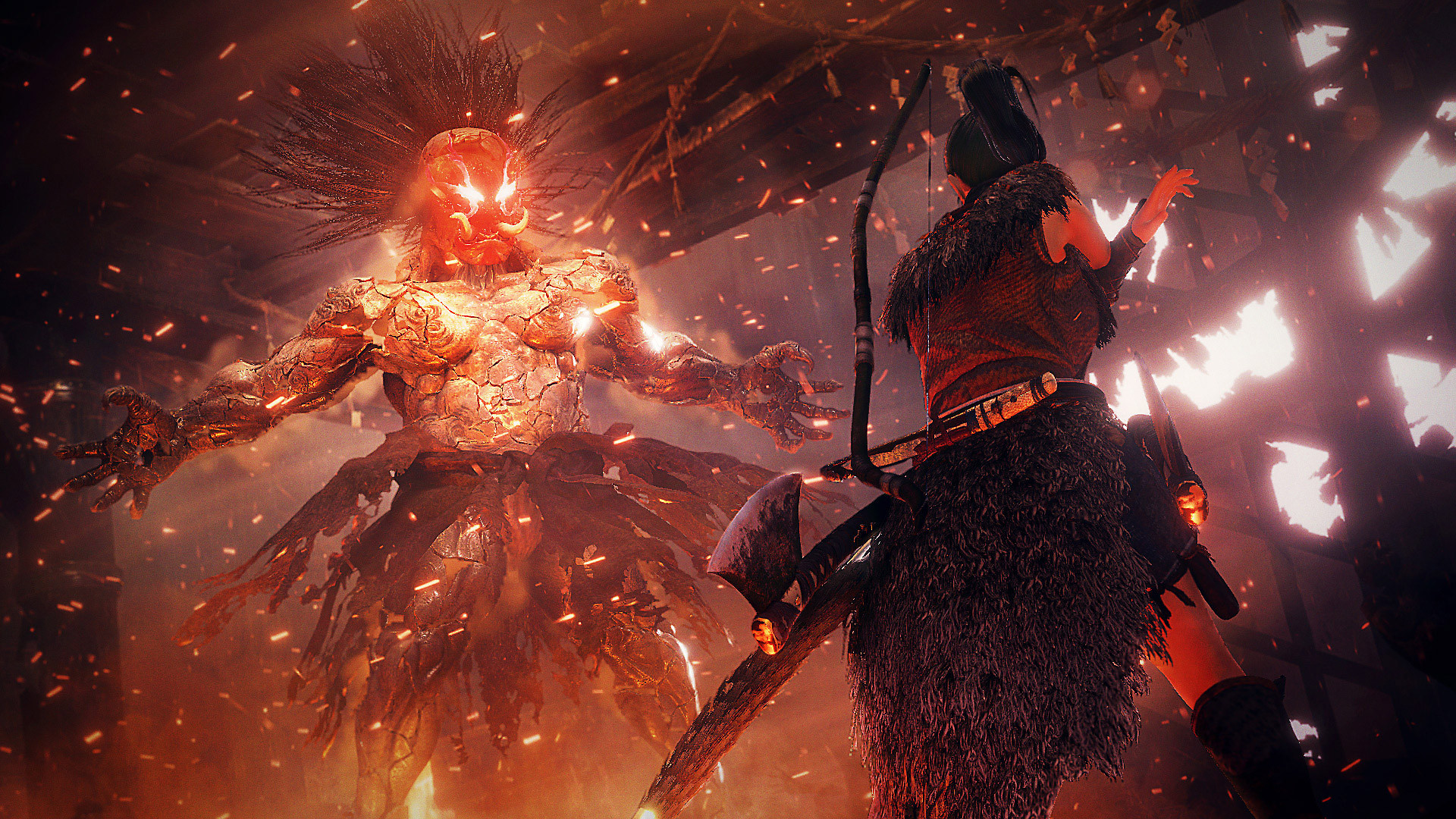 Concept art of Nioh 2's hero, with a bow and arrows, confronting a demon with glowing eyes.