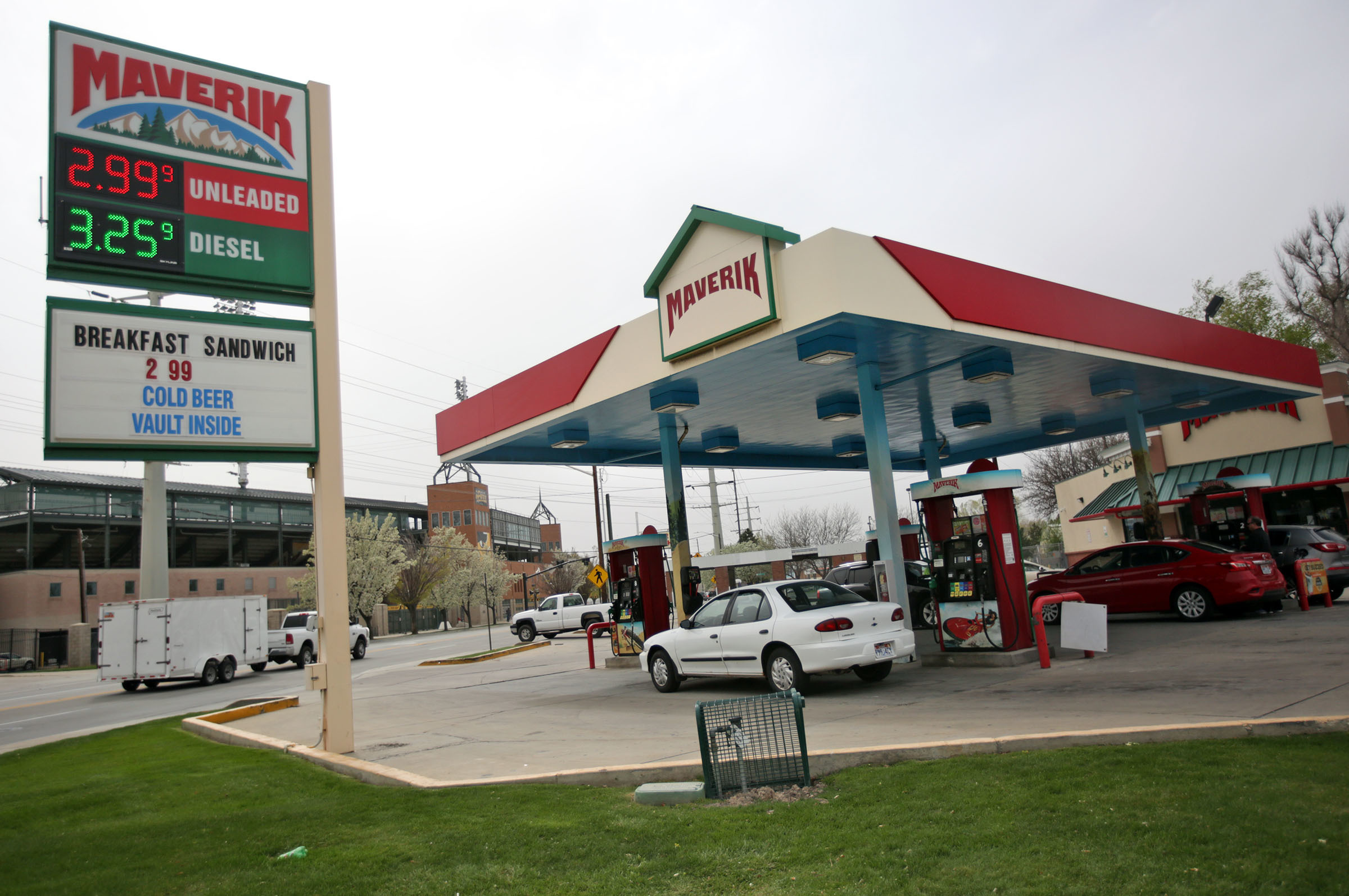 People pump gas at Maverick gas station in Salt Lake City on Monday, April 16, 2018.