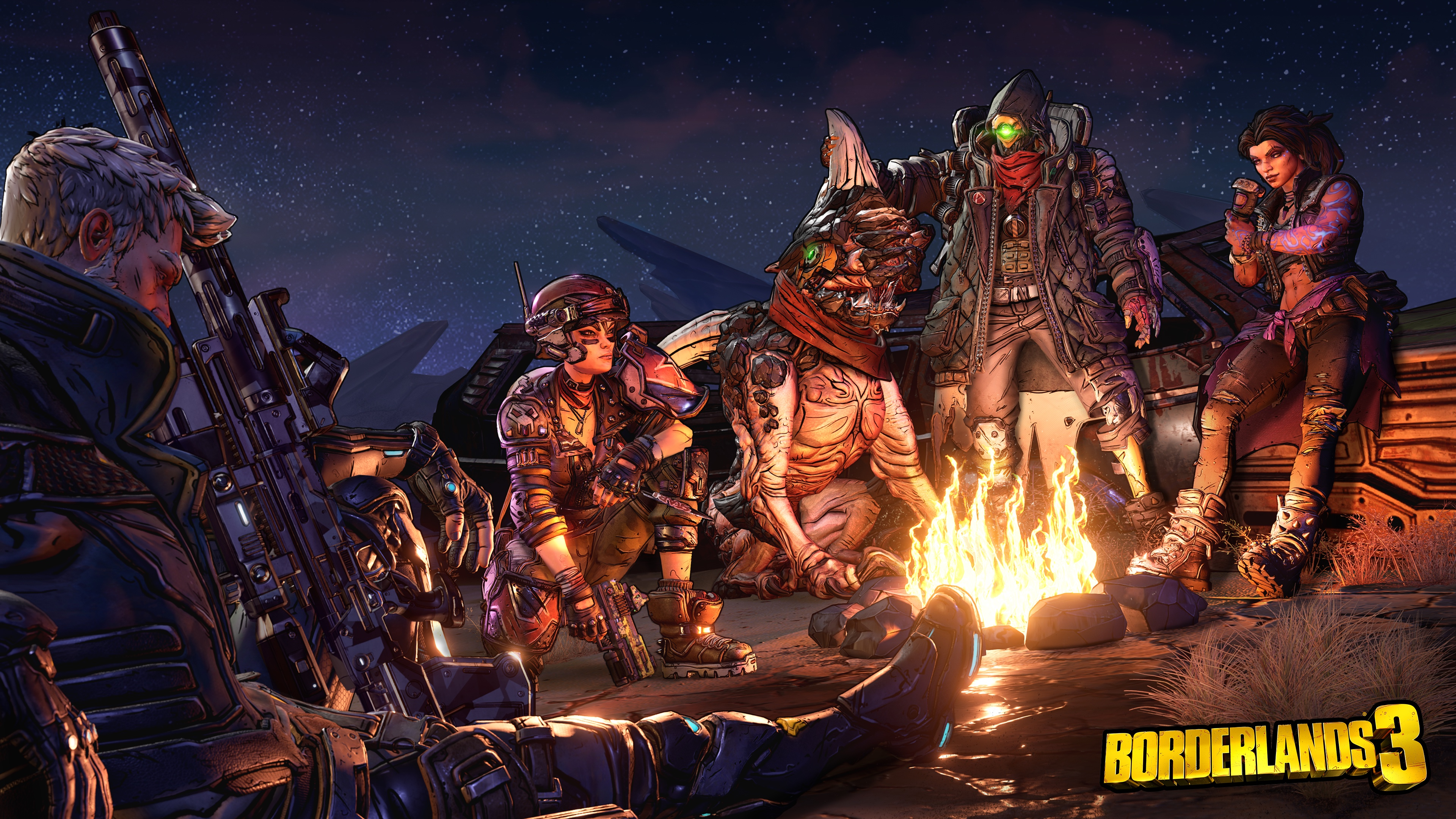 Vault hunters around a campfire in Borderlands 3