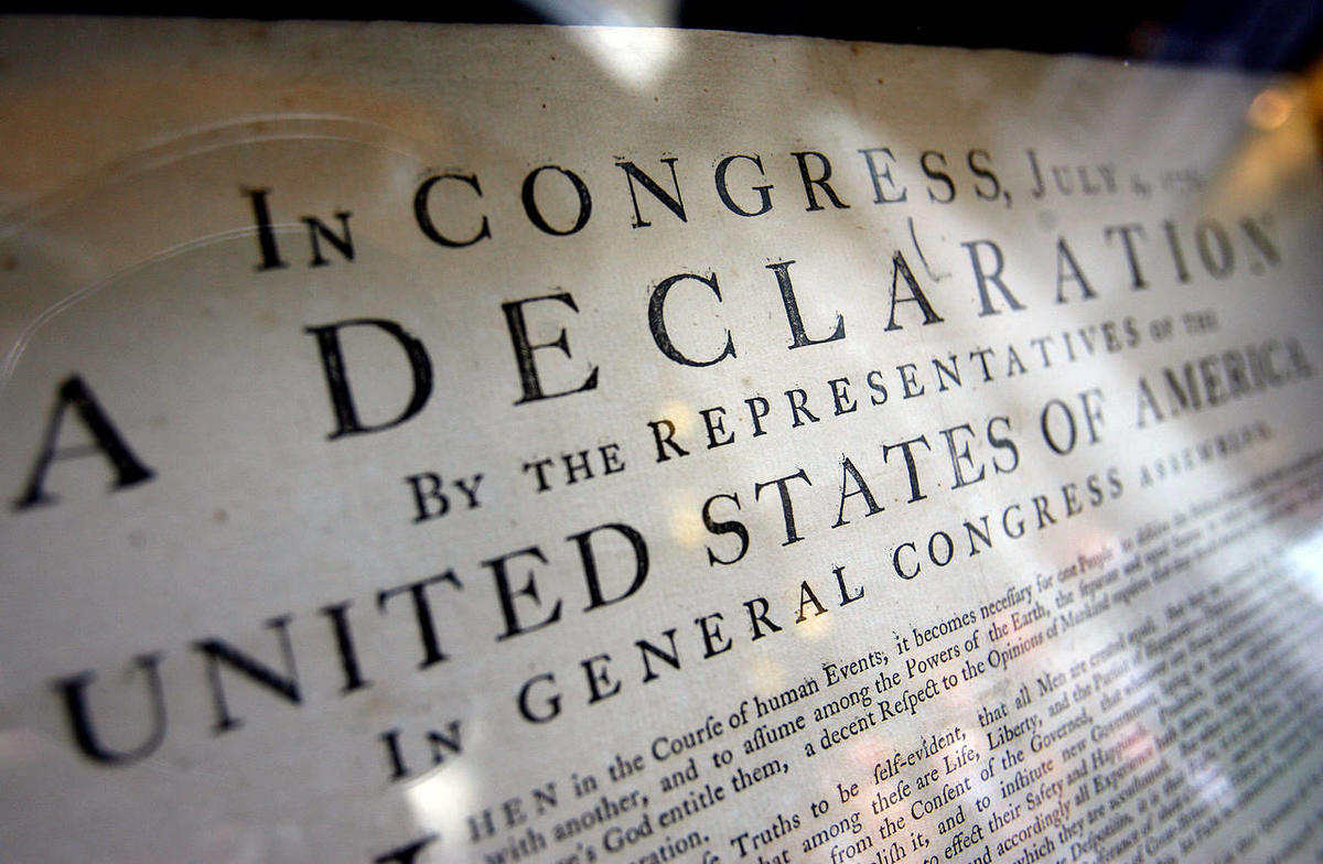 An original copy of the Declaration of Independence.