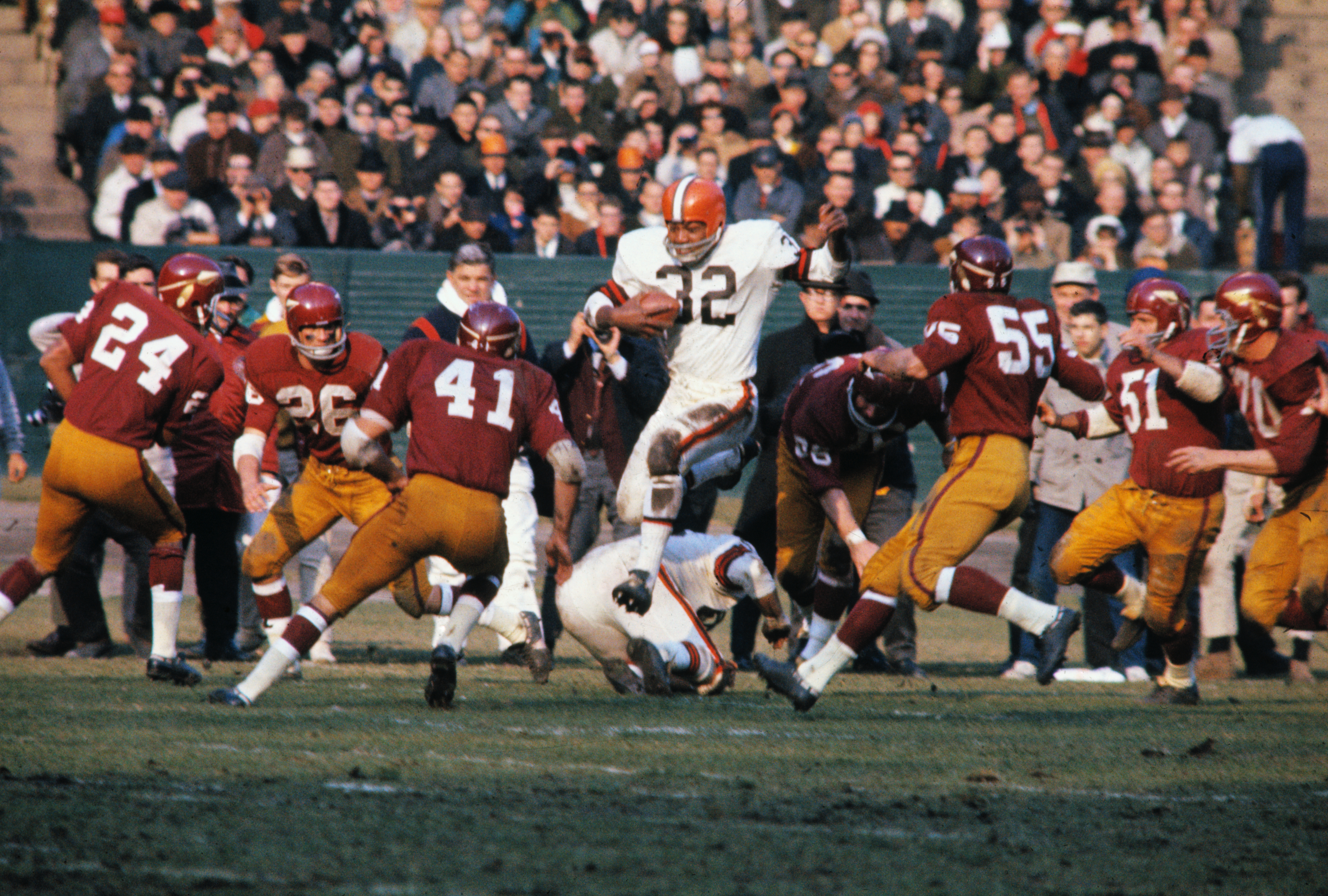 Jim Brown Running with Football